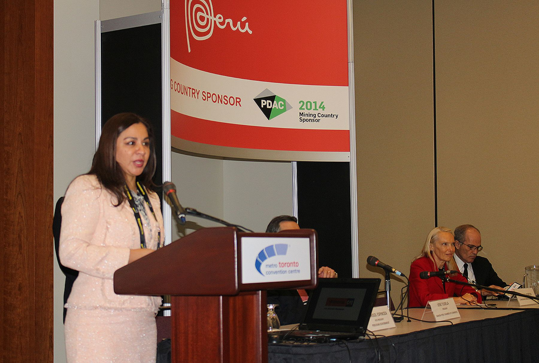Peruvian vice-president, Marisol Espinosa at  the Prospectors and Developers Association of Canada (PDAC) conference in Toronto.
