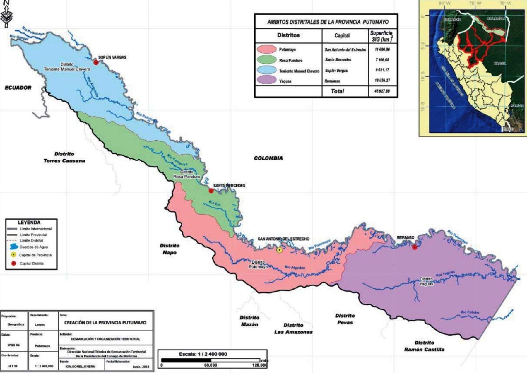 Promulgan ley que crea la provincia de Putumayo en departamento de Loreto. Foto: ANDINA/Difusión.
