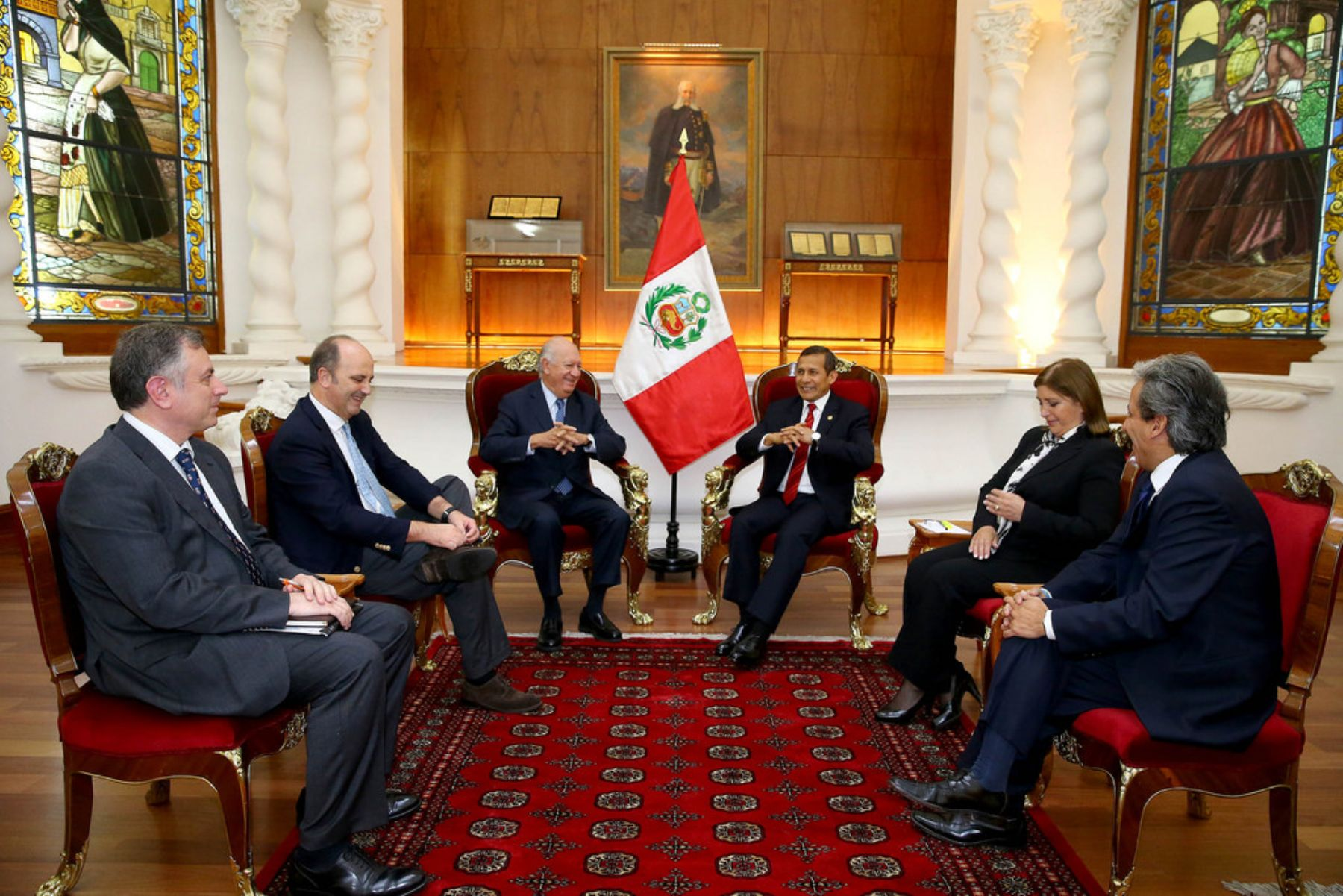 El Presidente peruano, Ollanta Humala Tasso, recibe al exmandatario chileno Ricardo Lagos en una audiencia en Palacio de Gobierno. Foto: ANDINA/Presidencia.