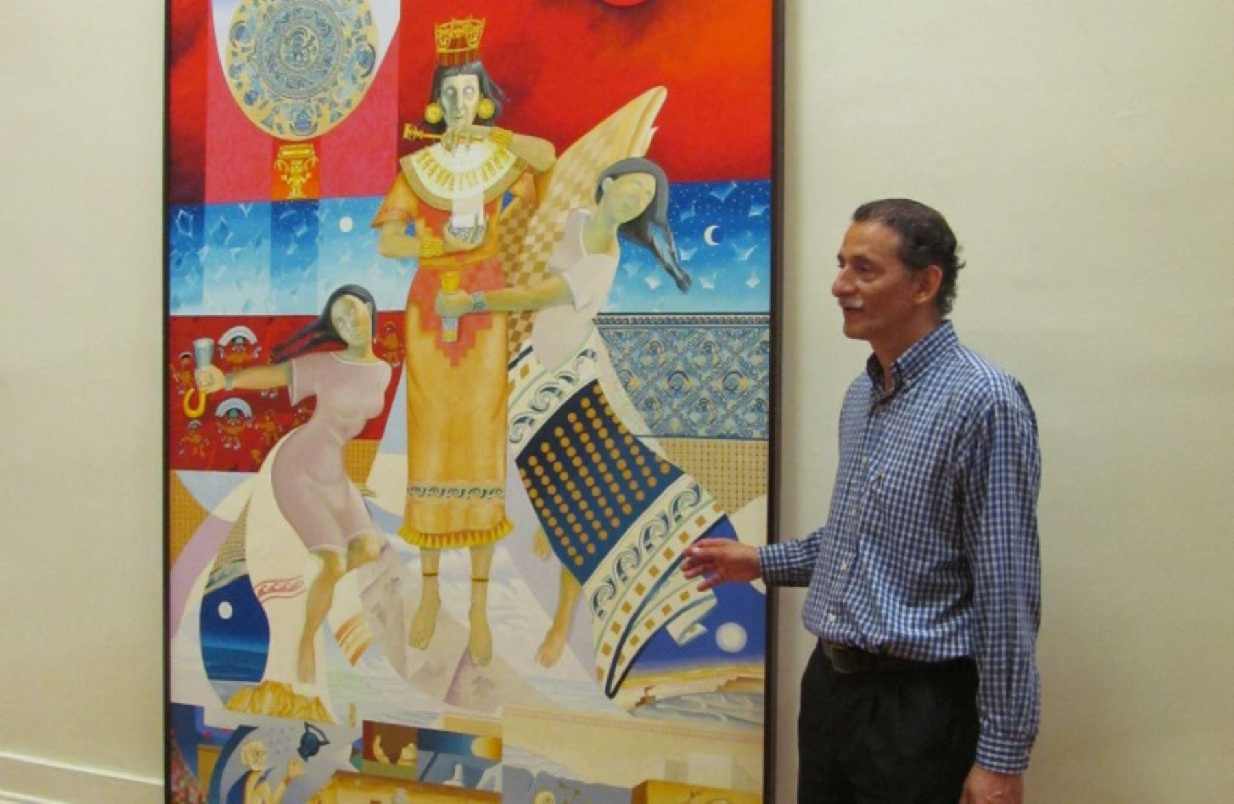 En la muestra con tesoros de la Sacerdotisa de Chornancap se exhiben también lienzos elaborados tras el hallazgo.