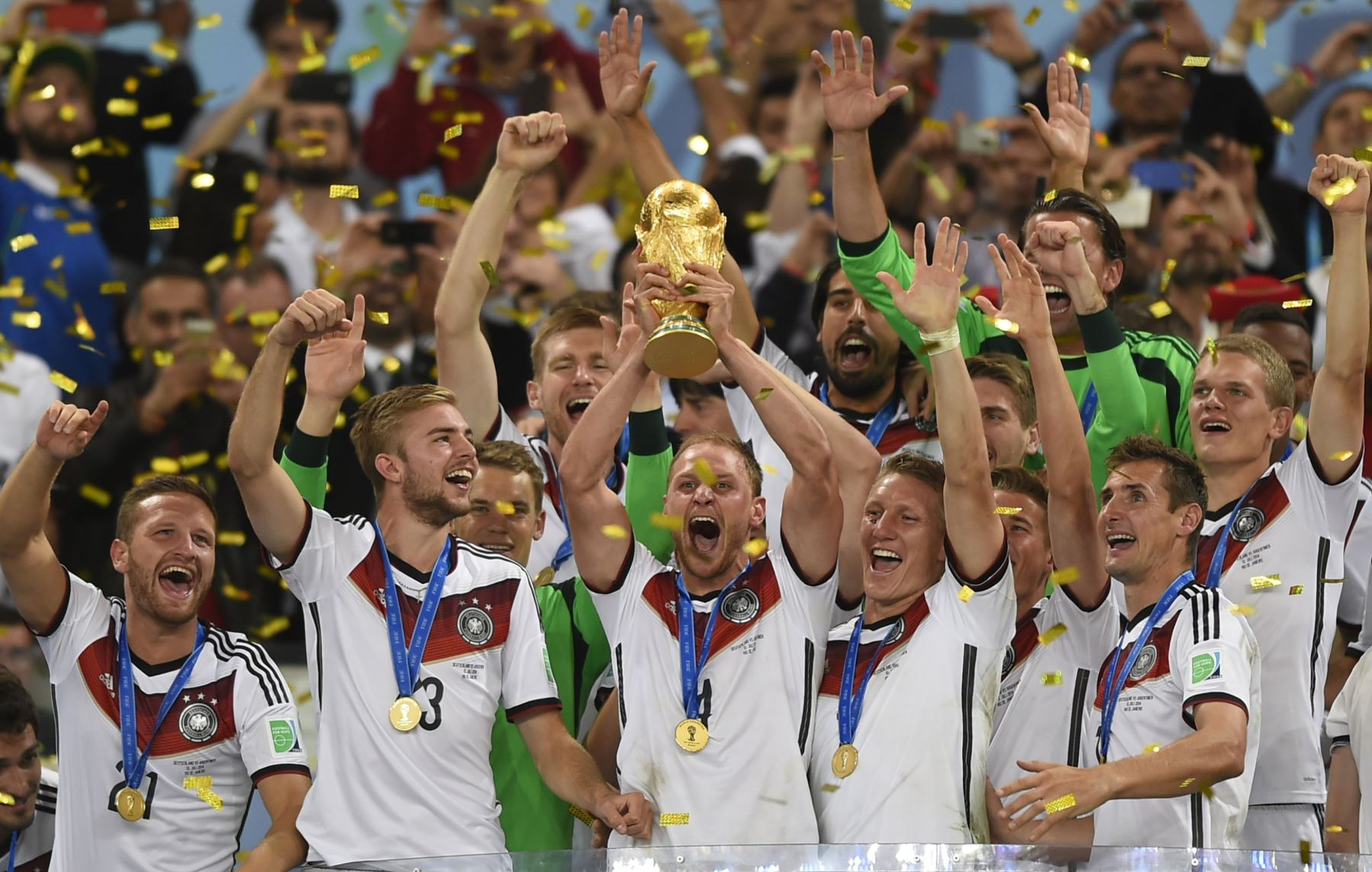 German national team with their 2014 World Cup win. Photo:AFP