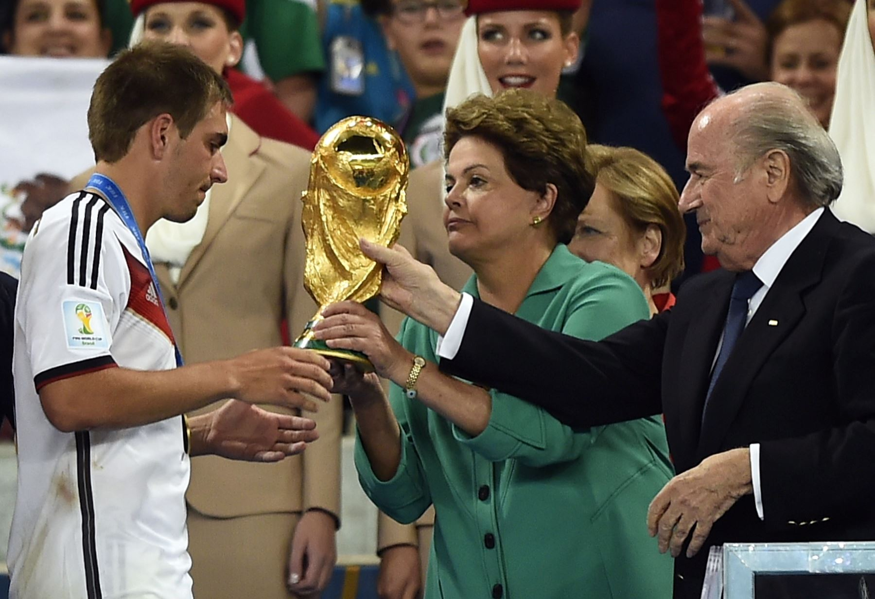 Germany receives World Cup throphy at the Maracana stadium in Rio de Janeiro Jul. 13. Photo:AFP