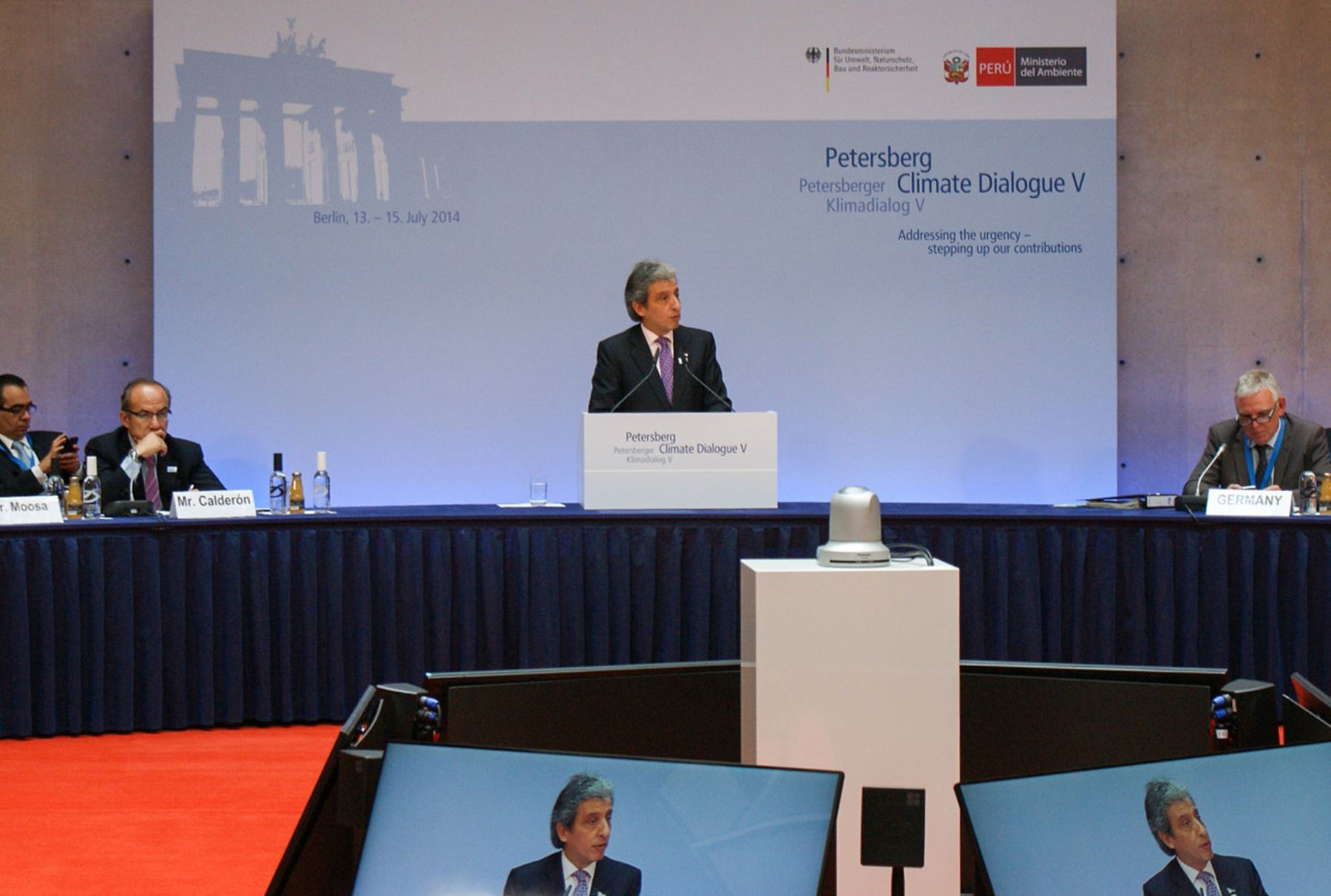 Ministro Manuel Pulgar-Vidal durante su intervención en el V Diálogo de Petersberg, Foto: Minam.