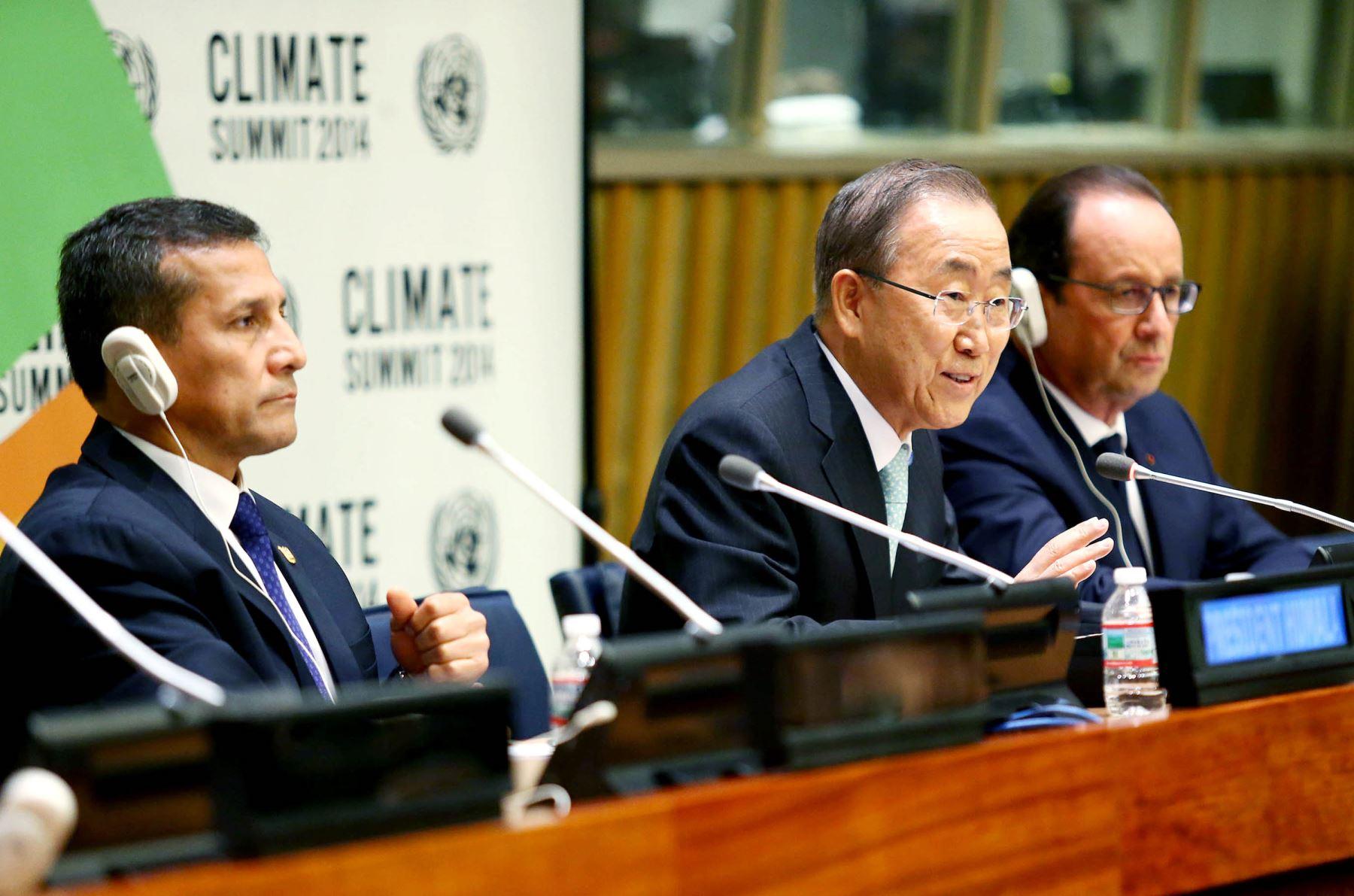NUEVA YORK EE UU, SETIEMBRE 23. Declaración de prensa de los presidentes Ollanta Humala y François Hollande, junto con el Secretario General de Naciones Unidas, Ban Ki Moon: ANDINA/Prensa Presidencia