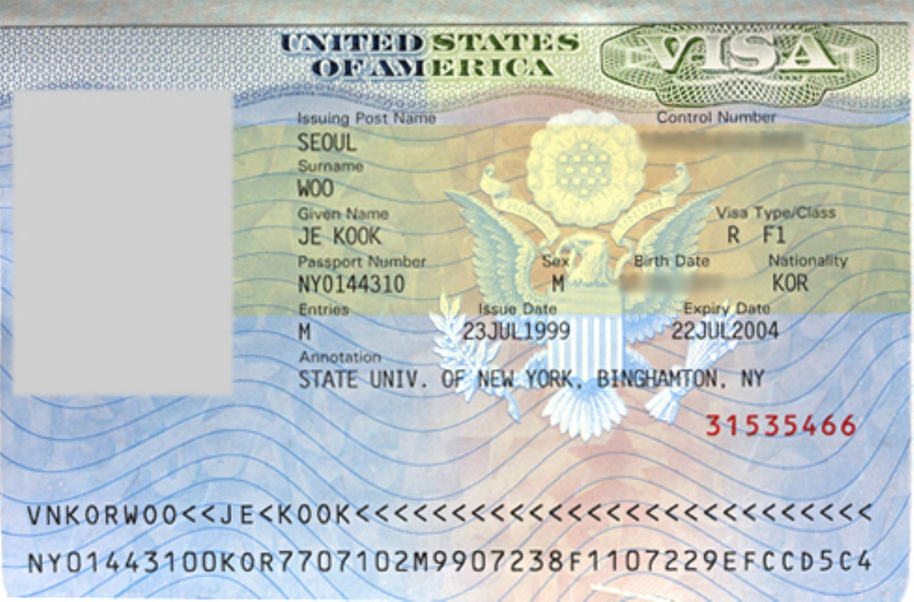 Visa a Estados Unidos.