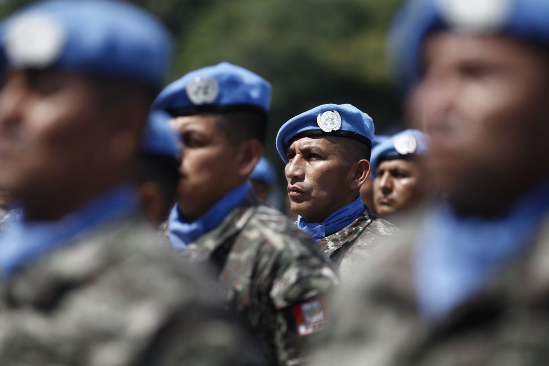 Cascos azules peruanos. ANDINA/Juan Carlos Guzmán