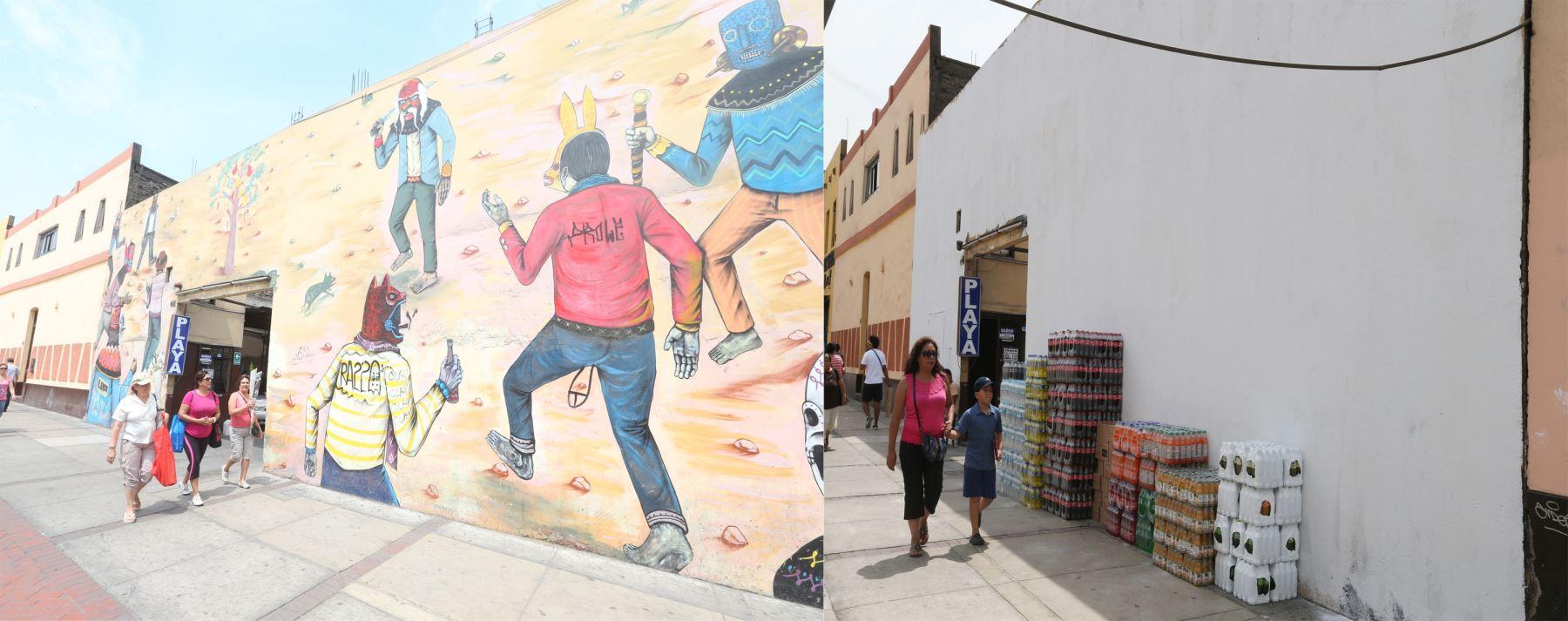 Antes y después, mural borrado en el jirón Lampa. Foto: ANDINA/Vidal Tarqui