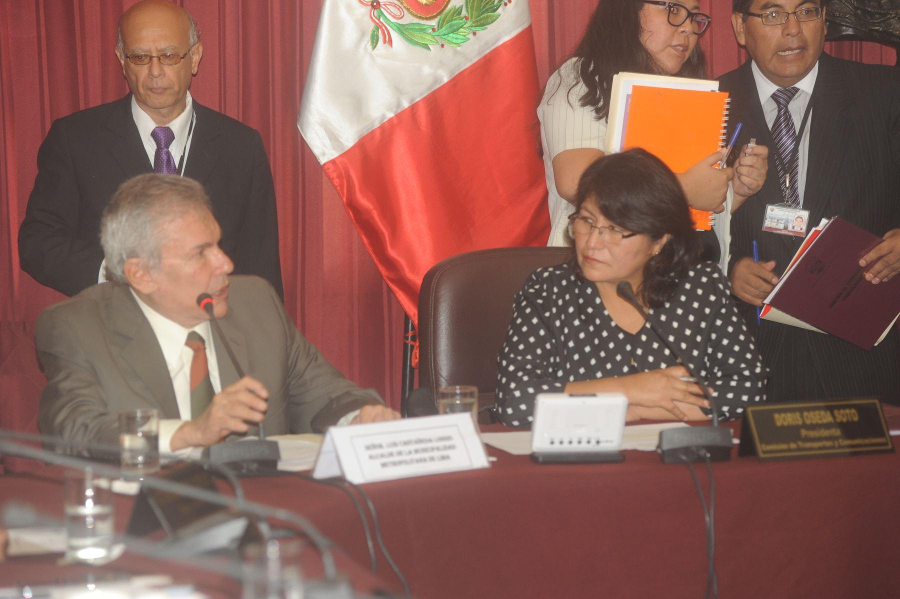 Alcalde Luis Castañeda Lossio expuso ante la Comisión de Transportes del Congreso.