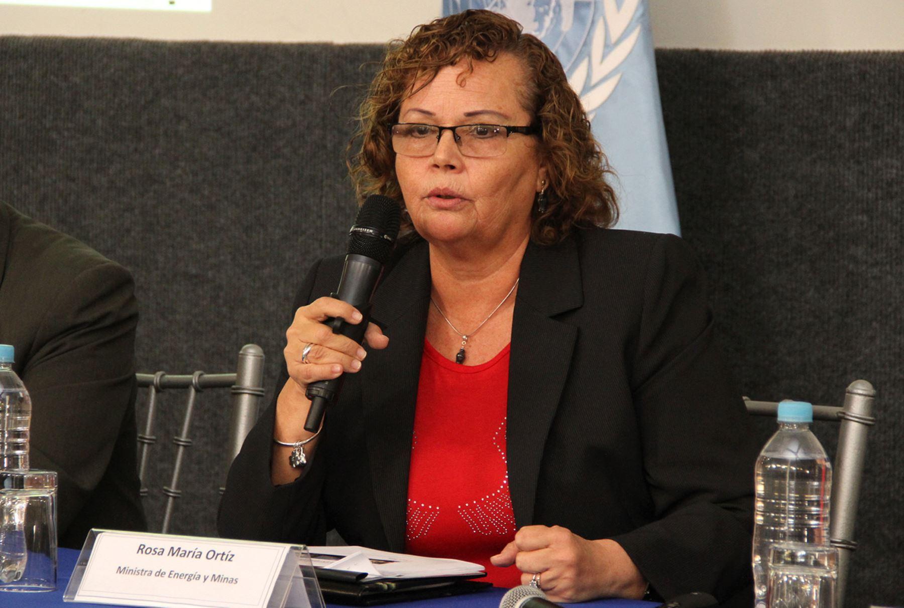 Ministra de Energía y Minas, Rosa Ortíz. ANDINA/Difusión