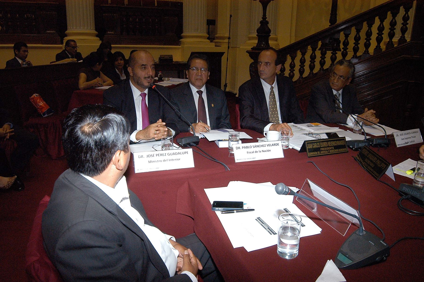Exposición del ministro del Interior, José Pérez Guadalupe, en la Comisión de Justicia y Derechos Humanos. Difusión