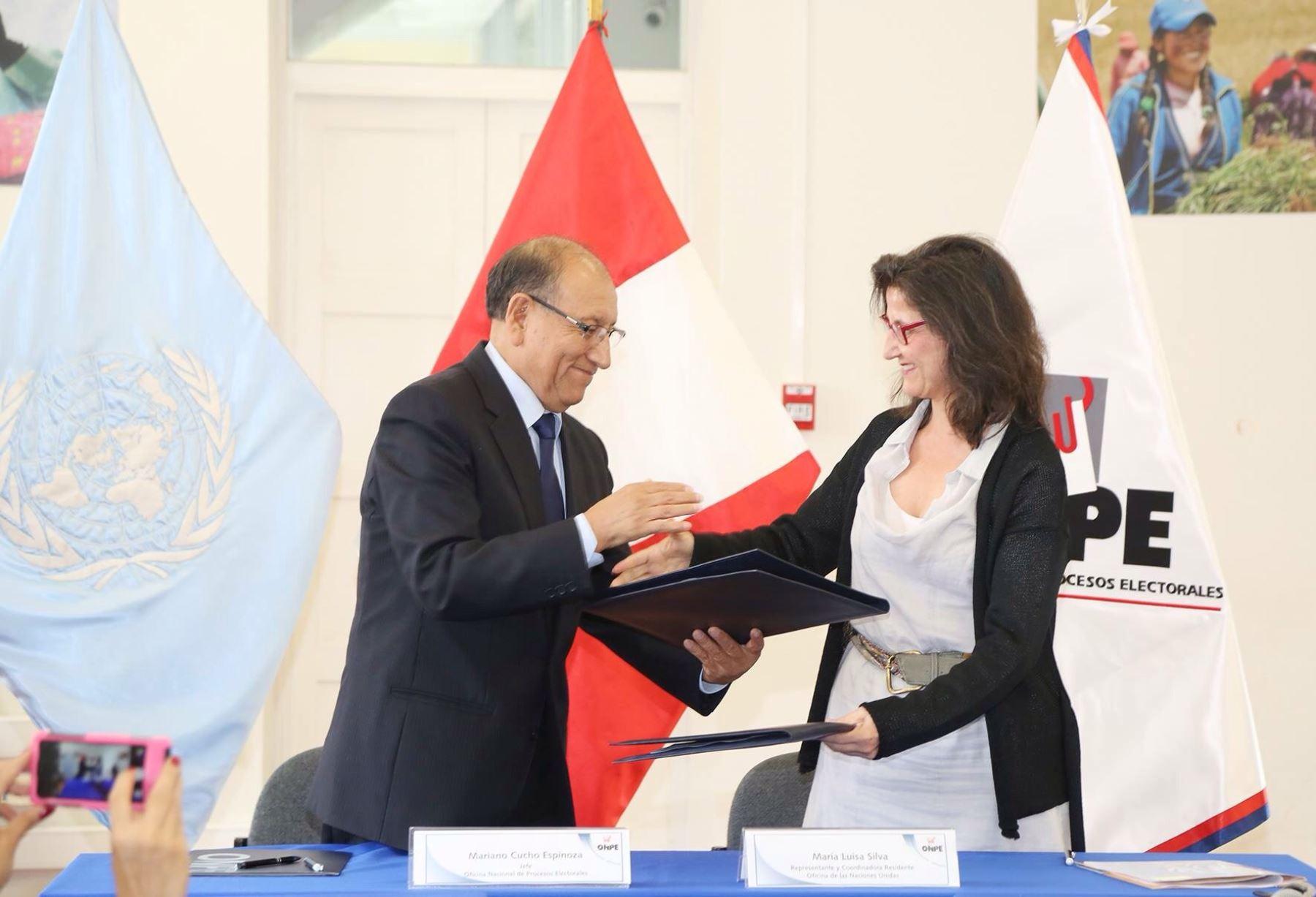 Convenio firmado entre la Oficina Nacional de Procesos Electorales (ONPE) y ONU Mujeres.