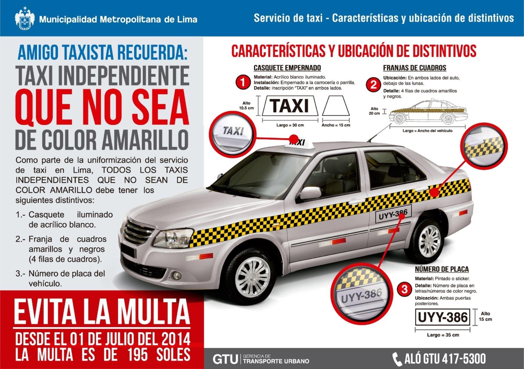 Características técnicas que debe tener un vehículo que se dedica al servicio de taxi en Lima.