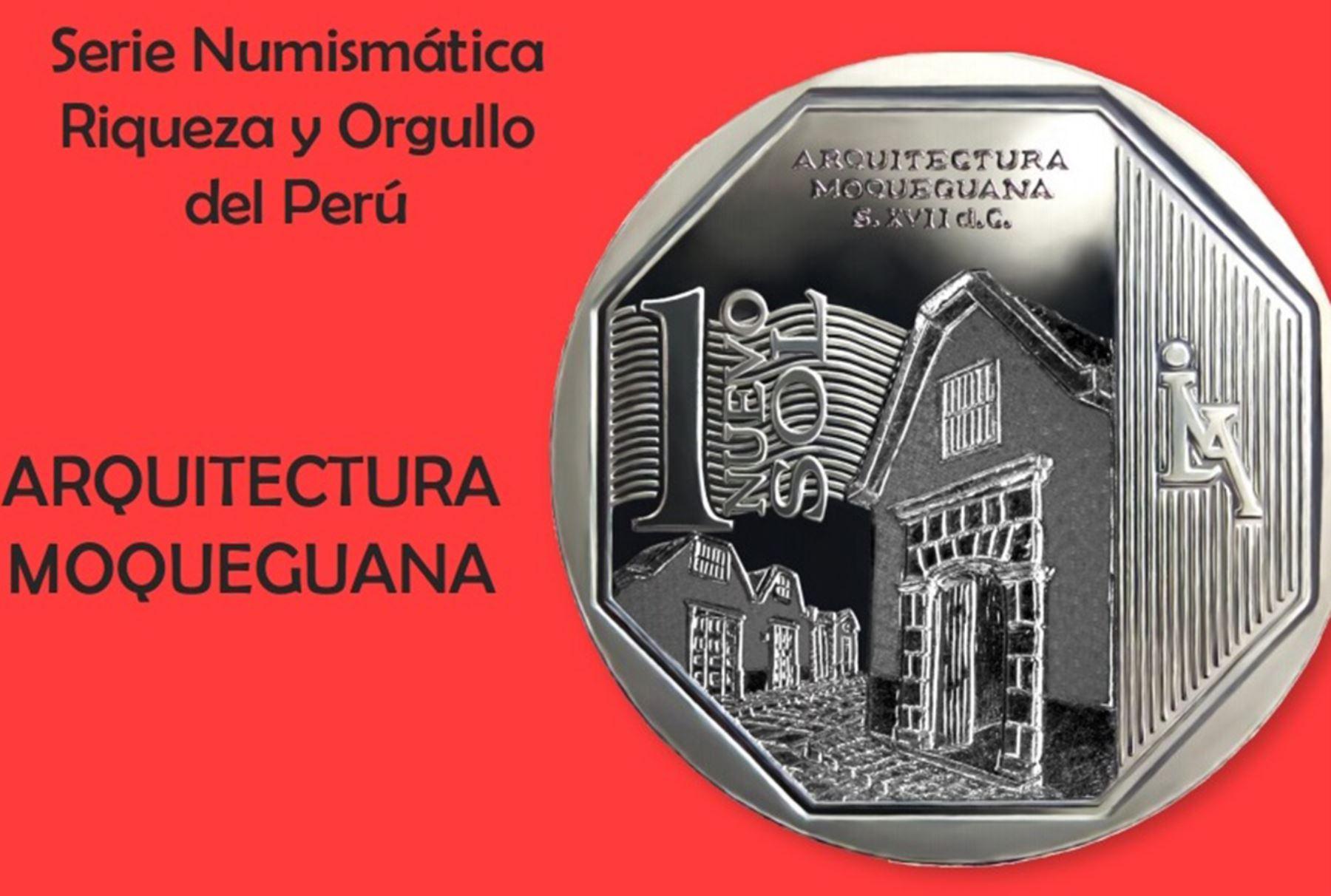 Moneda alusiva a la arquitectura moqueguana. Foto: BCR.