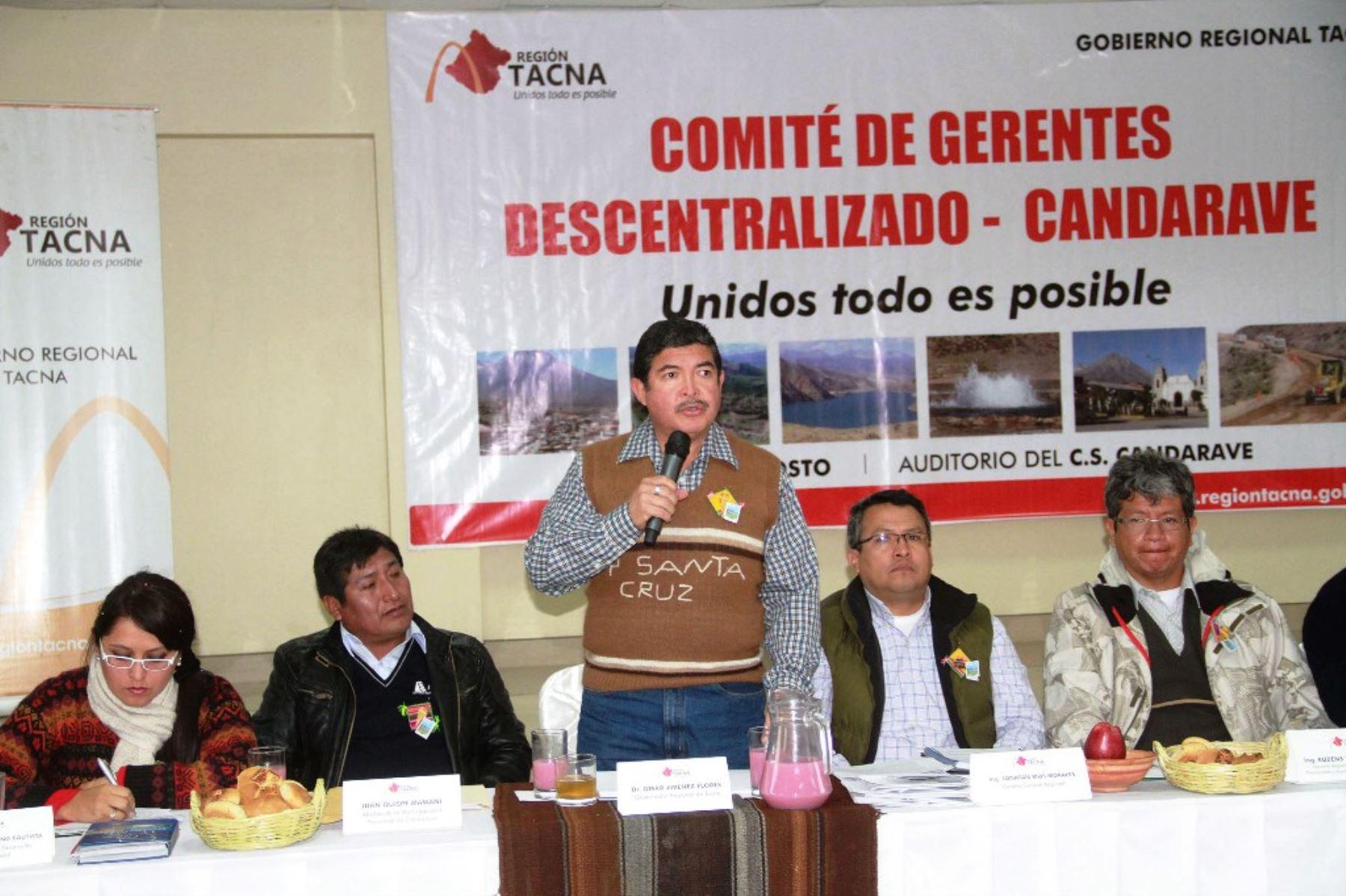 El gobernador regional de Tacna, Omar Jiménez, encabeza reunión de gerentes regionales. Foto: ANDINA/Difusión.