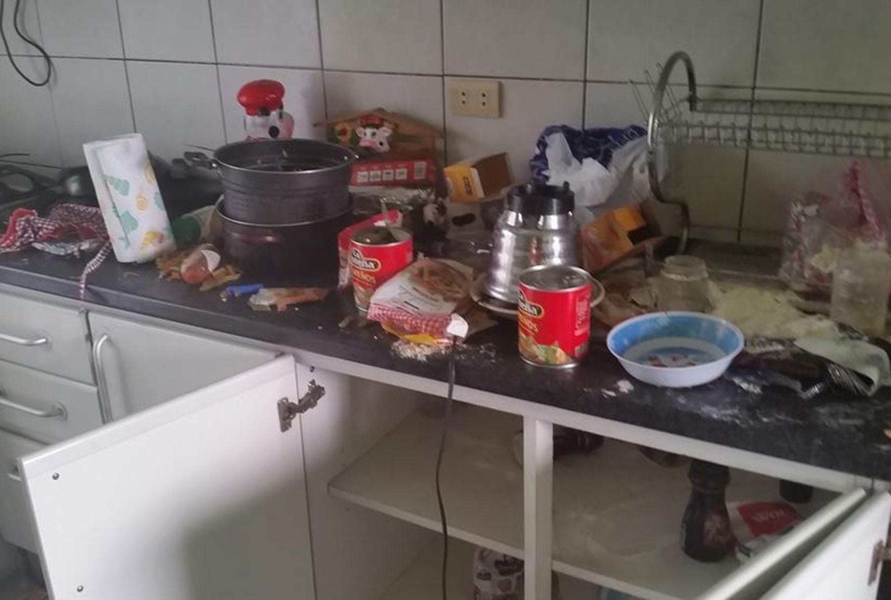 Así quedó la casa destruida en Lince. Foto: @HuertoAmado.