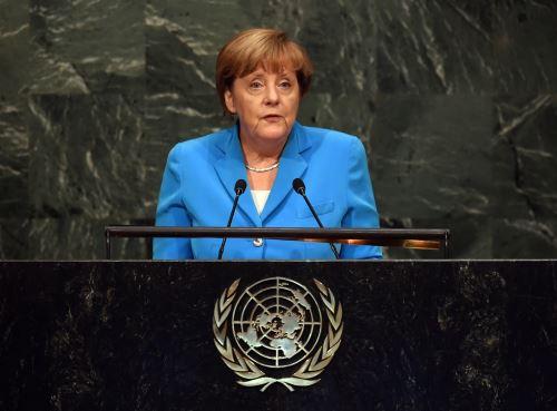 Angela Merkel, canciller de Alemania en la Asamblea General de Naciones Unidas. Foto: AFP