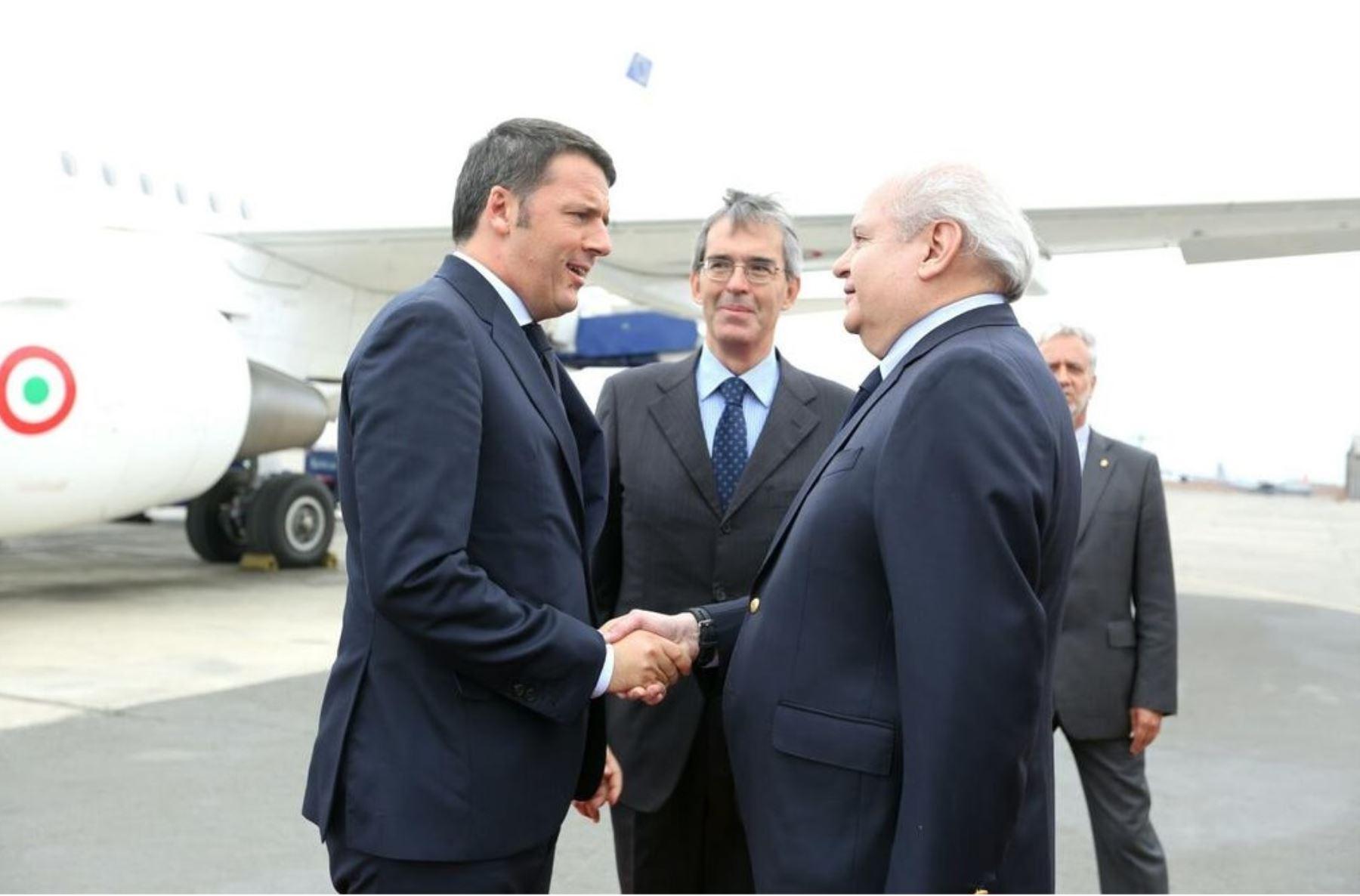 Jefe del Gabinete, pedro Cateriano, sostuvo reunión hoy con el presidente del Consejo de Ministros de Italia, Matteo Renzi.