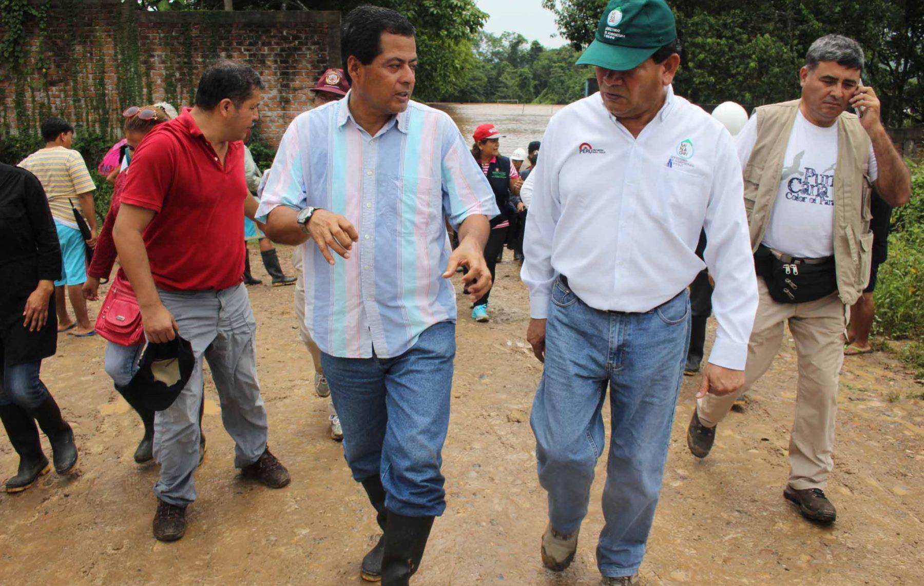 Viceministro del Minagri, Jorge Montenegro, coordinó ayuda para los afectados por el desborde del río Saposoa, en San Martín.