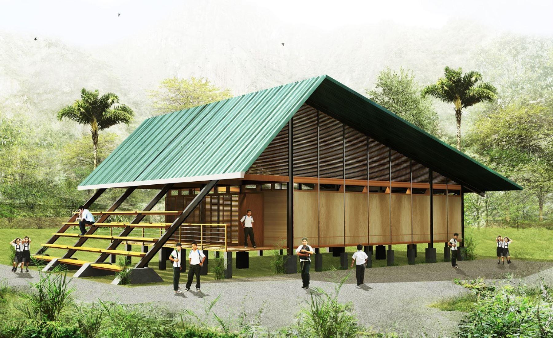 El sistema arquitectónico modular del Plan Selva propuesto por el Minedu -a través del Programa Nacional de Infraestructura Educativa (Pronied) es fácil de instalar en zonas remotas y de geografía difícil.