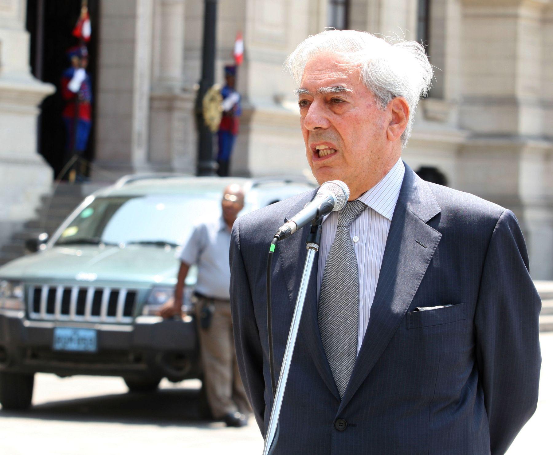Escritor peruano, Mario Vargas Llosa.  Foto: Andina / Sepres