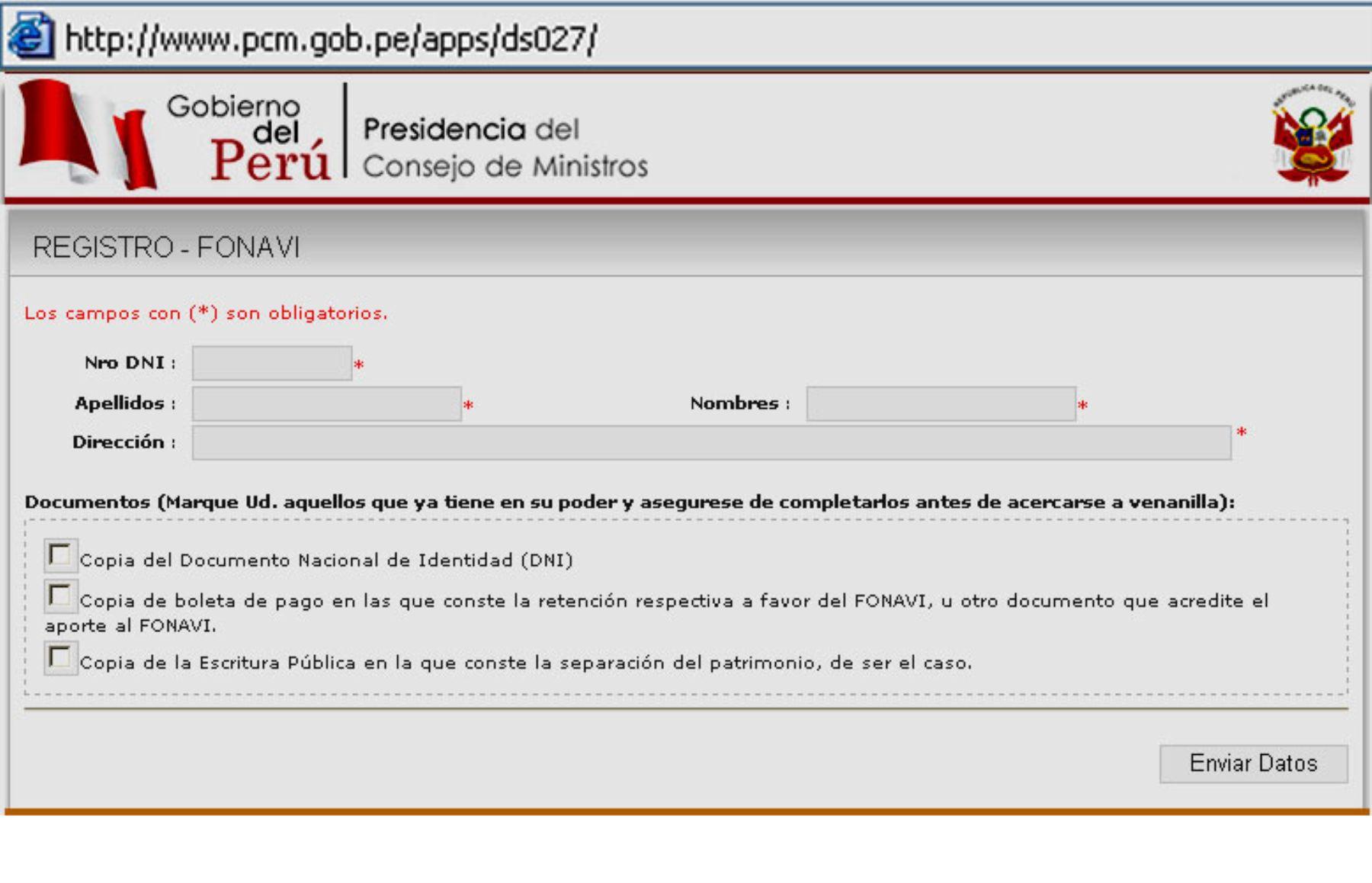 Página web de la PCM para la inscripción de los ex aportantes al Fonavi. Foto: ANDINA/Internet.