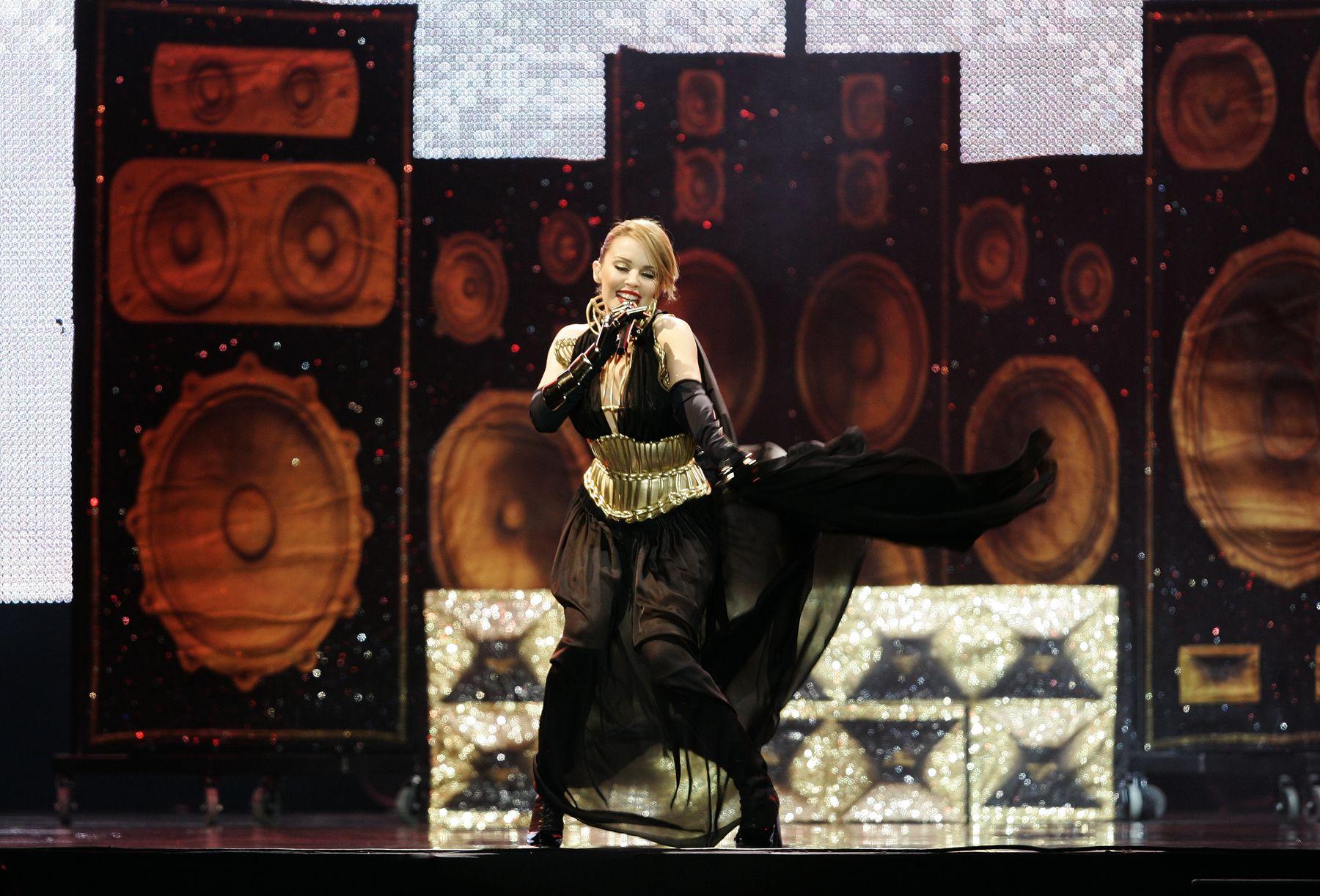 Kylie Minogue en concierto ofrecido esta noche en el estadio Monumental. Foto: ANDINA / Rafael Cornejo