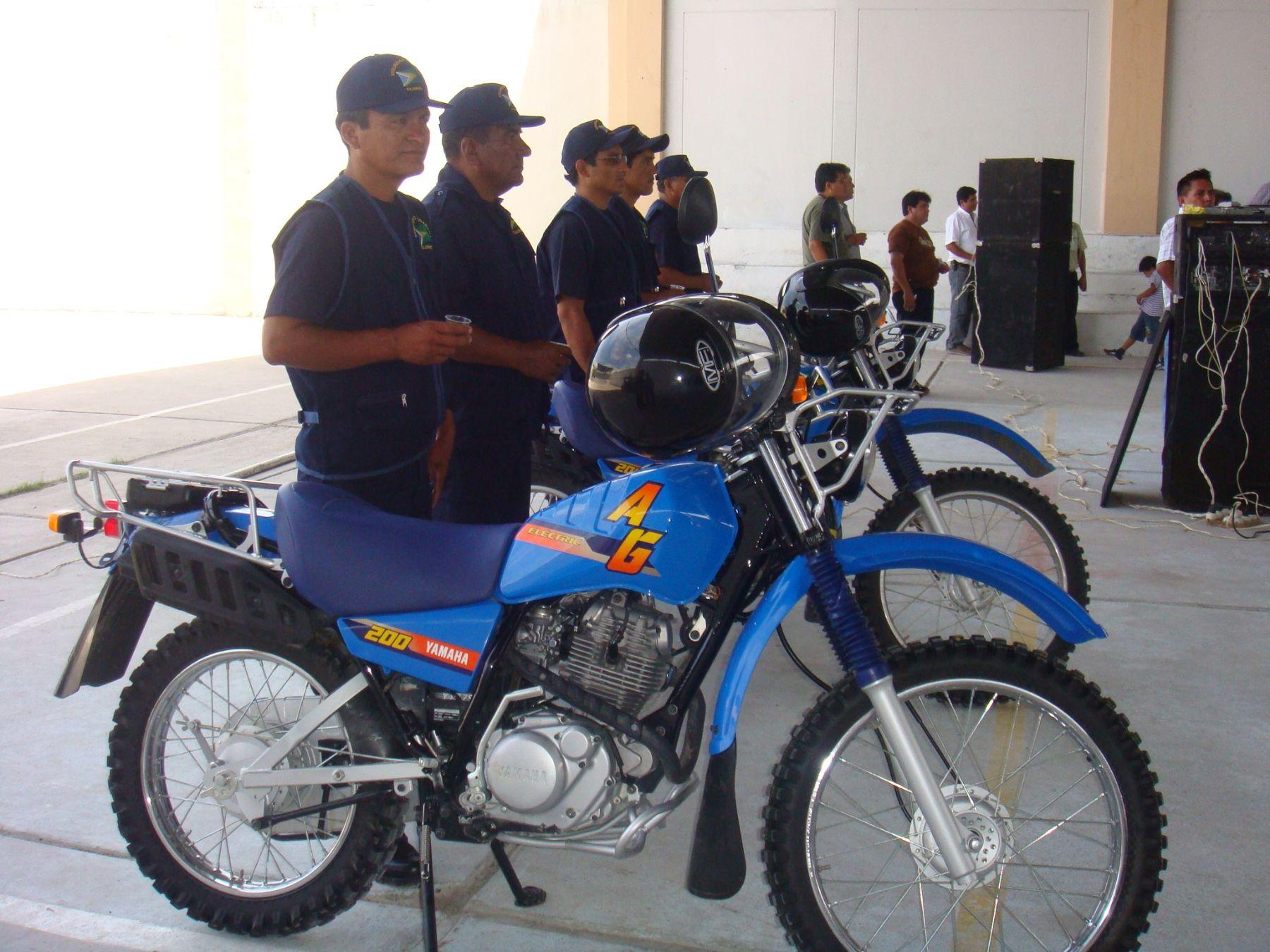 Motocicletas entregadas al Comité Distrital de Seguridad Ciudadana de Cajaruro (Amazonas). Foto: ANDINA / Conasec.
