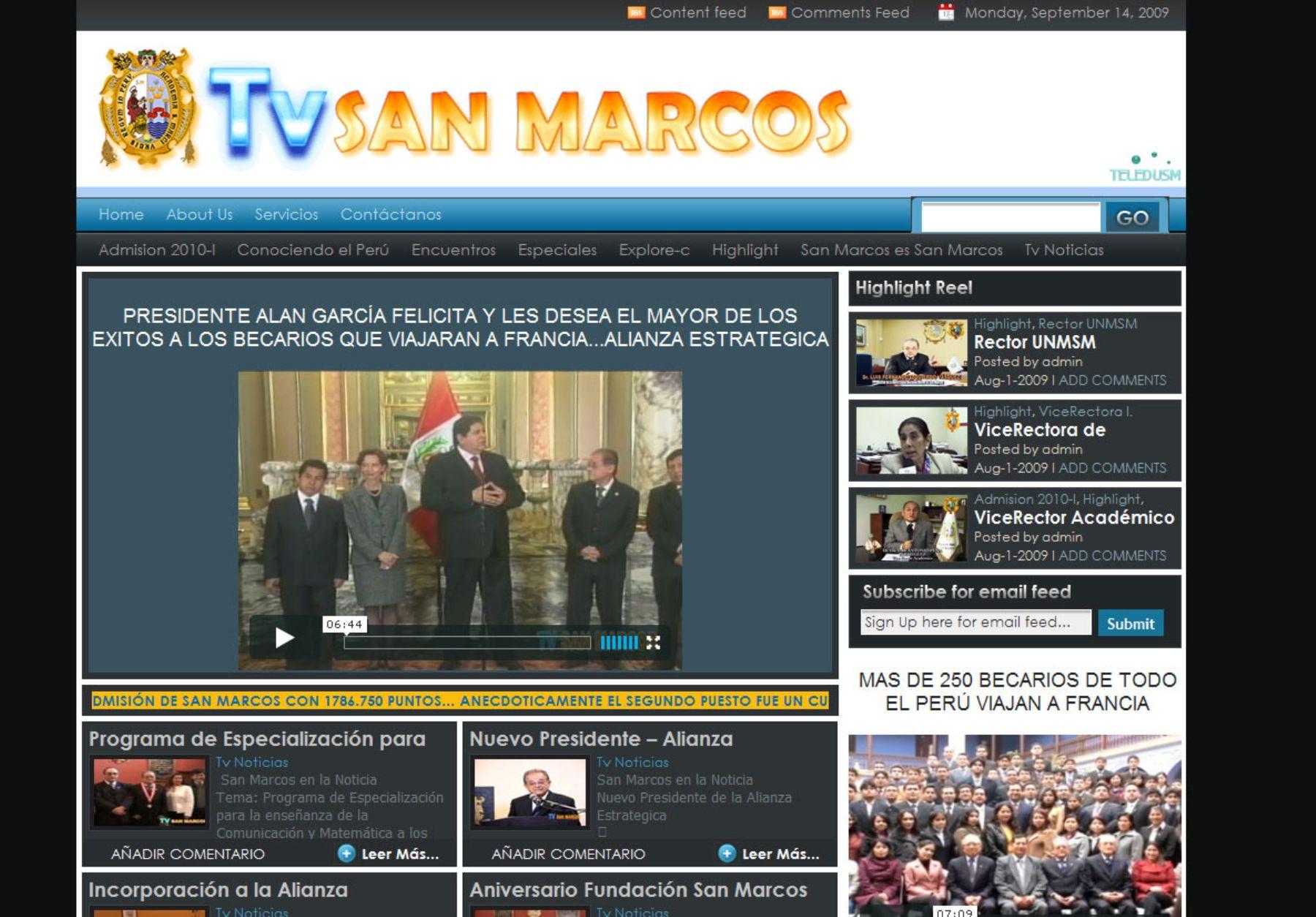 San Marcos inaugura canal de TV virtual de noticias, cultura ...