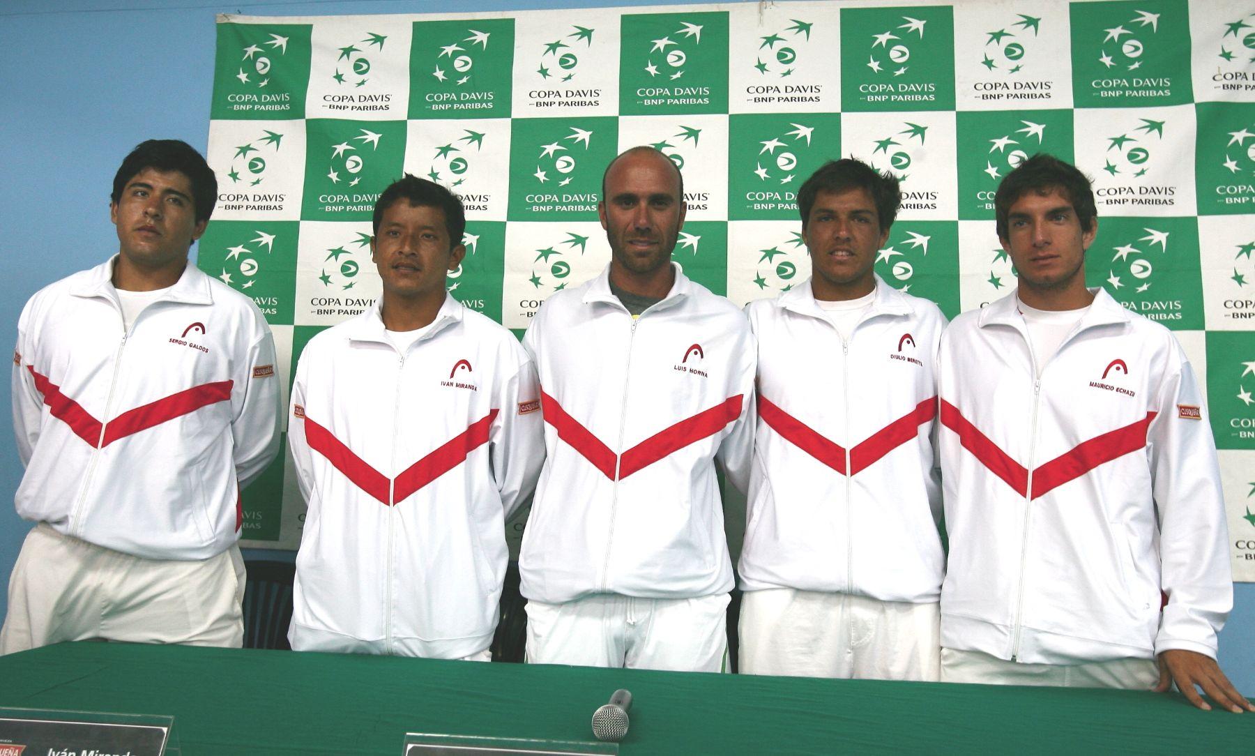 Conferencia de prensa del equipo peruano de tenis que participará en Copa Davis. ANDINA / Victor Palomino.