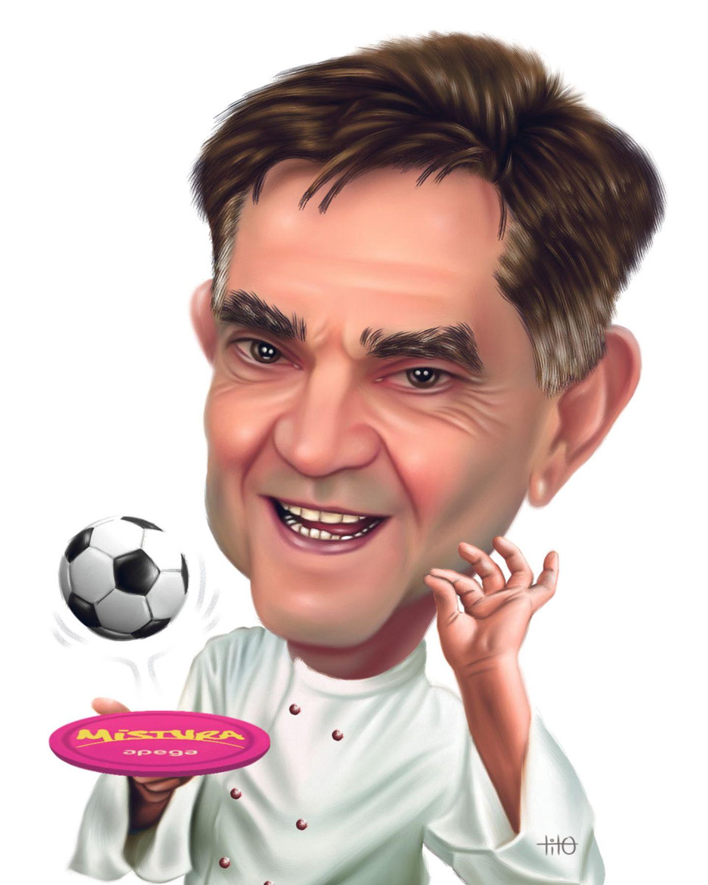 Mariano Valderrama. Caricatura: Tito Piqué