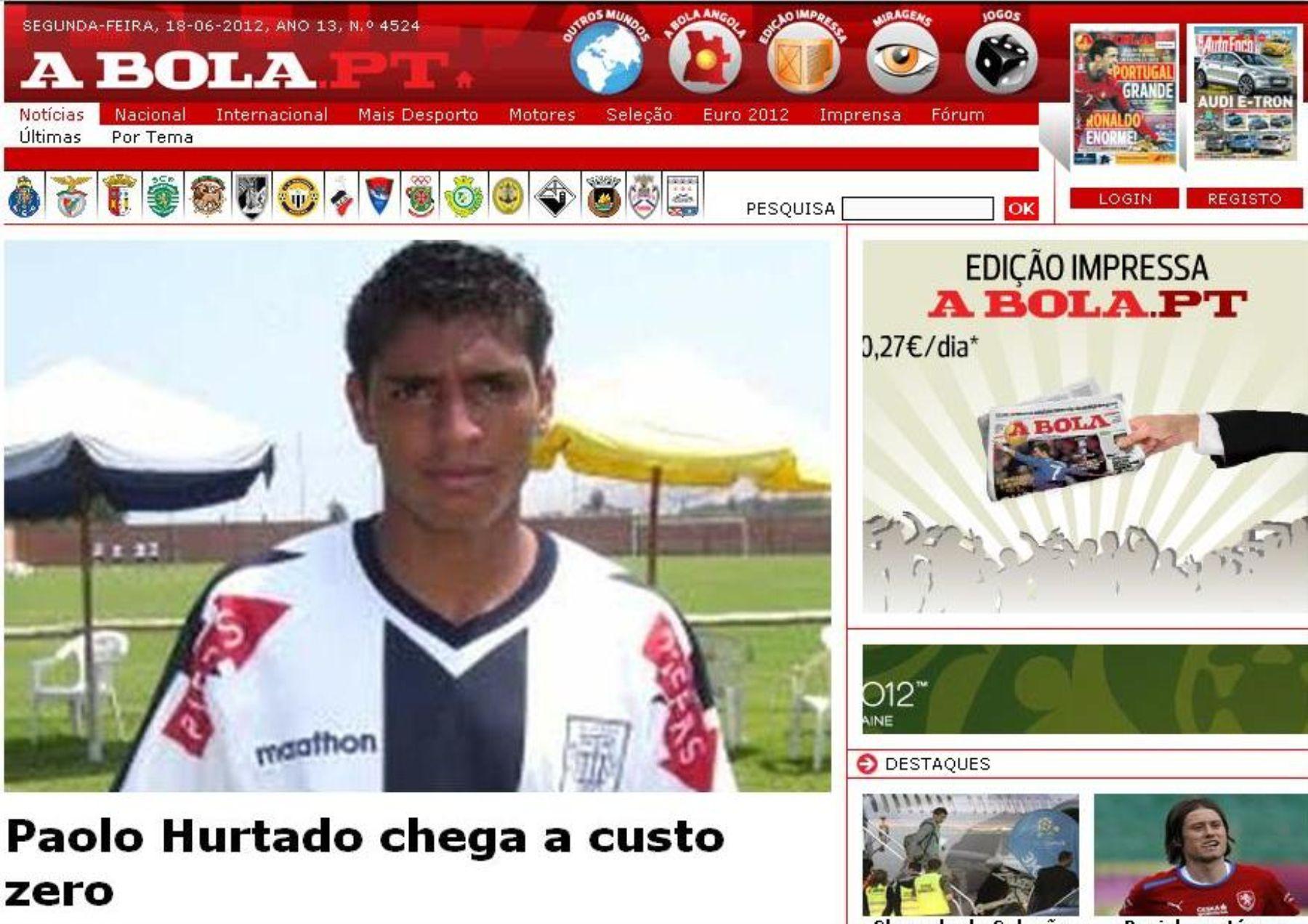 Prensa portuguesa informa sobre llegada de Paolo Hurtado. Foto: A Bola.