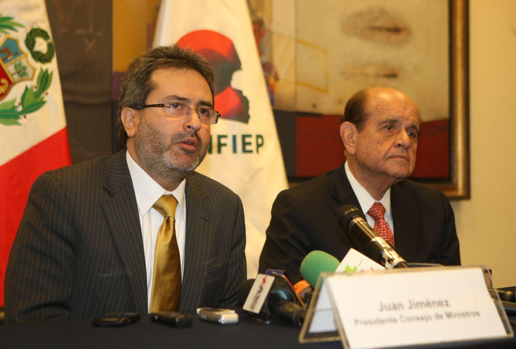 Presidente del Consejo de Ministros, Juan Jiménez, se reunió con titular de la Confiep, Humberto Speziani. Foto: ANDINA/Vidal Tarqui.