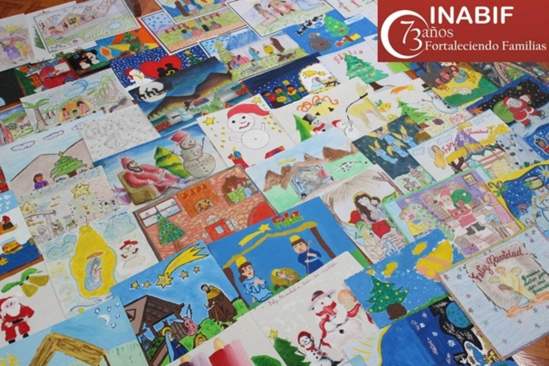 Inabif presenta dibujos ganadores que ilustrar n tarjetas - Dibujos tarjetas navidenas ...