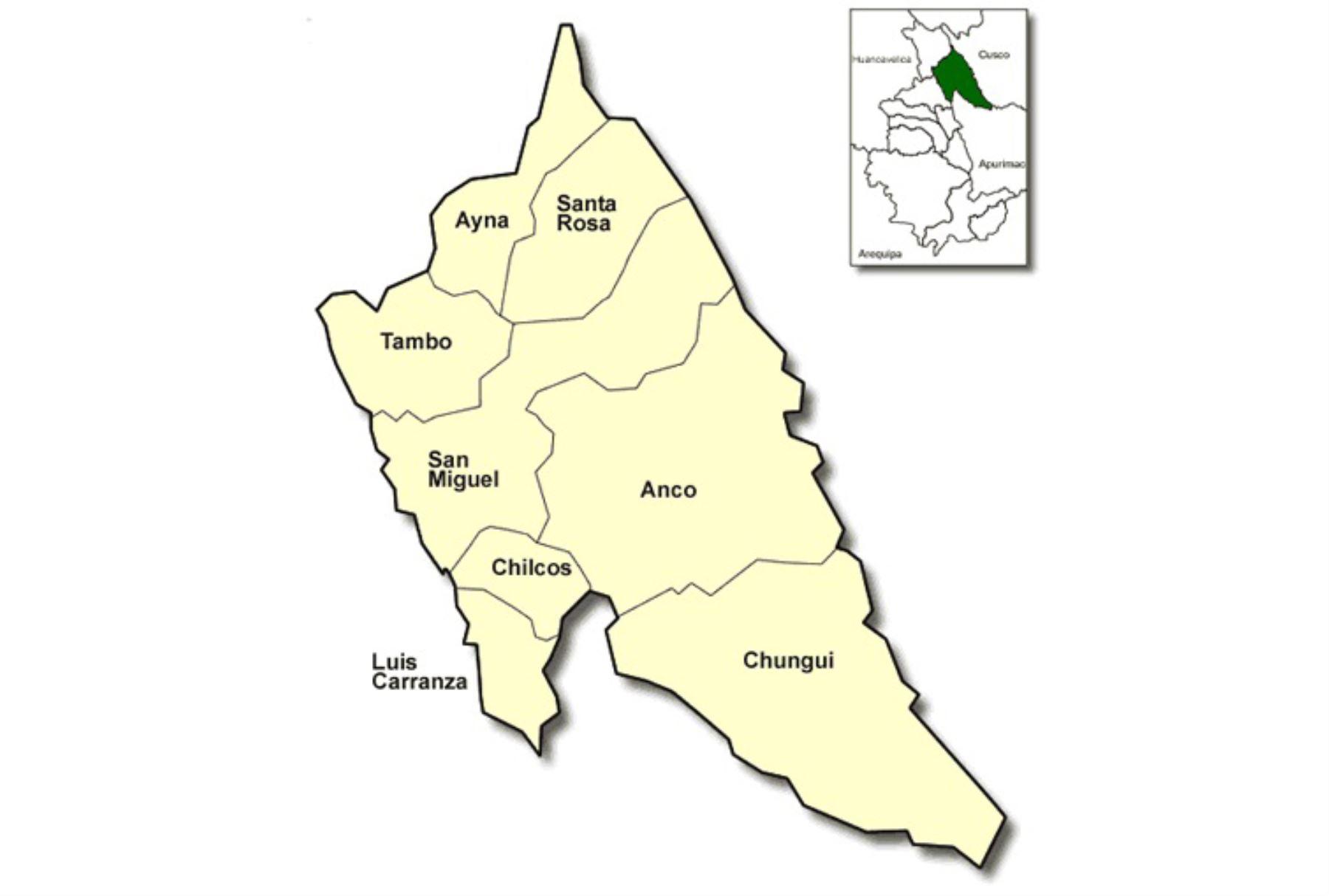 Mapa de la provincia de La Mar, en la región Ayacucho.