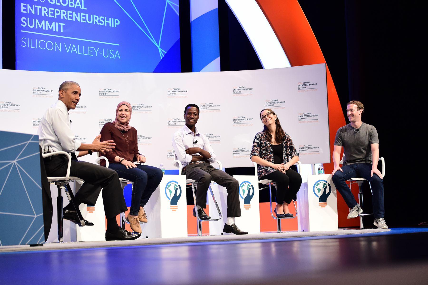 Peruana Mariana Costa conversó con presidente Barack Obama y Mark Zuckerberg. Foto. Cumbre Mundial de Emprendedores 2016.