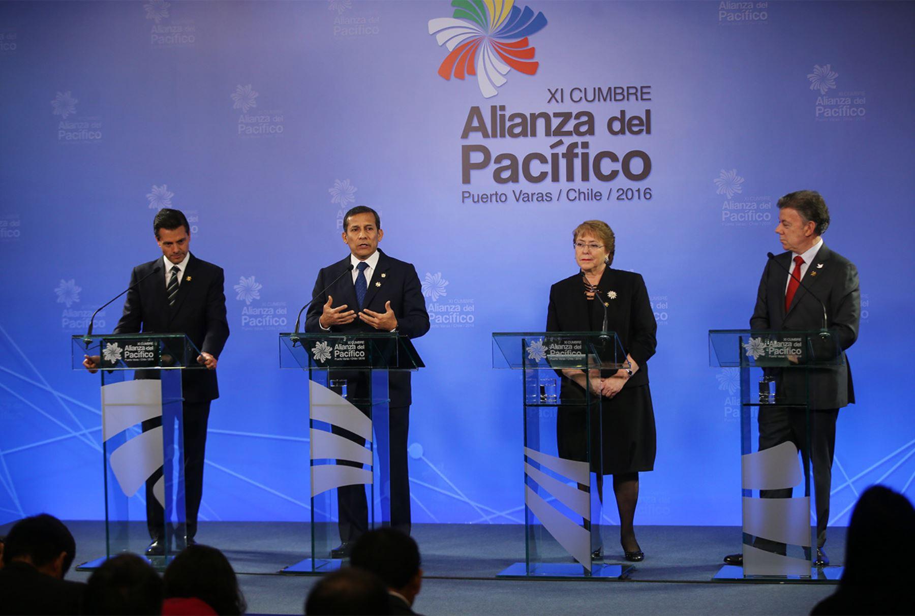 Presidente Ollanta Humala durante el discurso final  XI Cumbre de la Alianza del Pacífico.