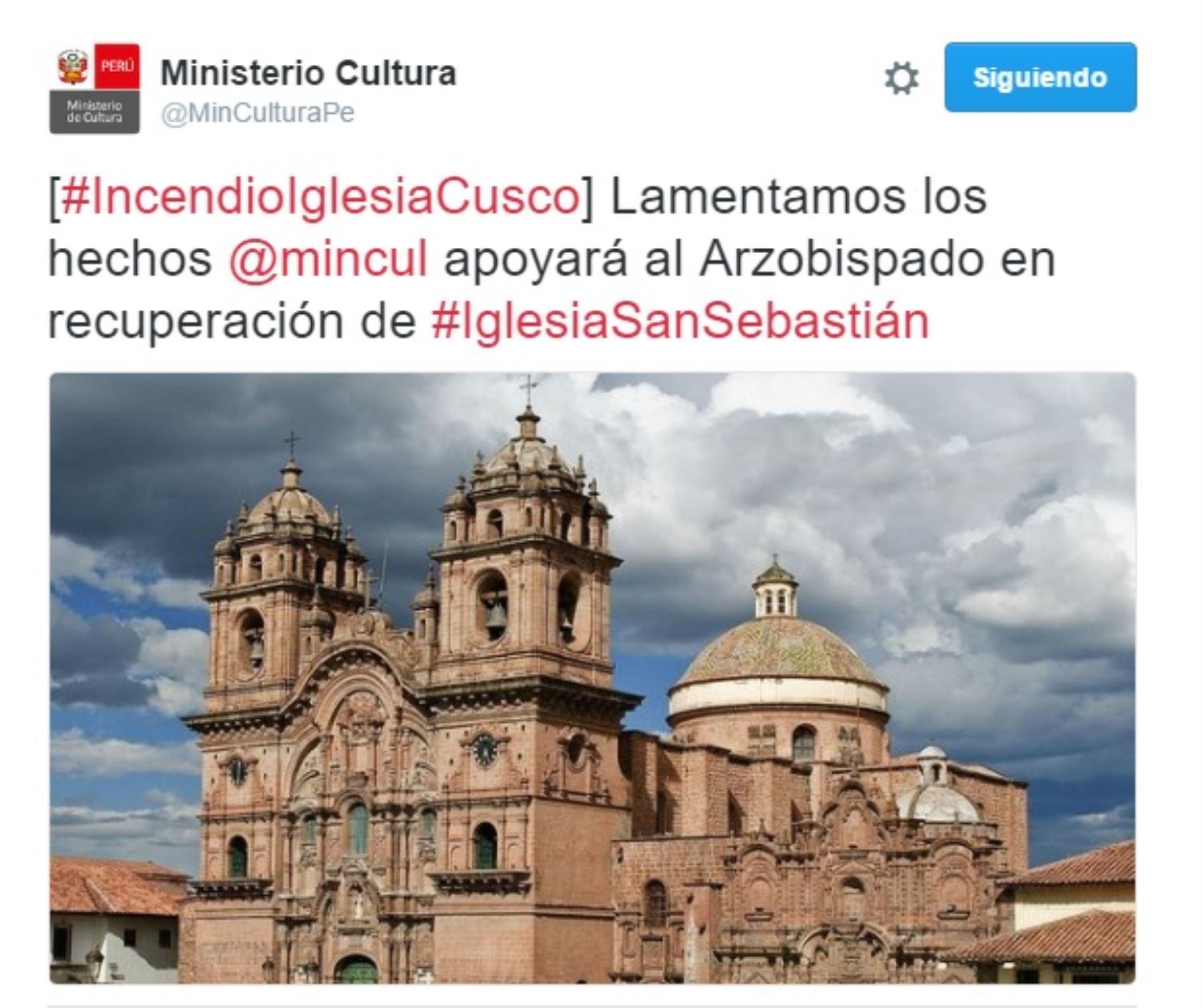 Twitter del Ministerio de Cultura sobre incendio en iglesia cusqueña de San Sebastián