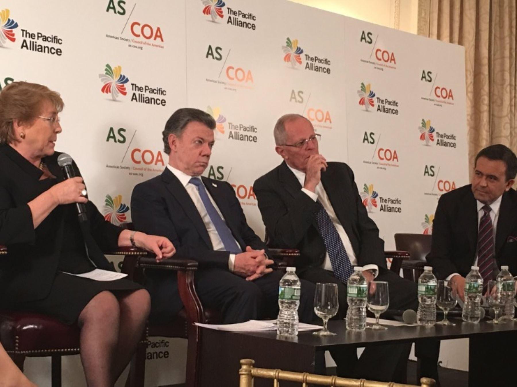Los presidentes de Perú, Chile y Colombia, junto al ministro de Economía mexicano, participaron en un foro sobre la Alianza del Pacífico en Nueva York.