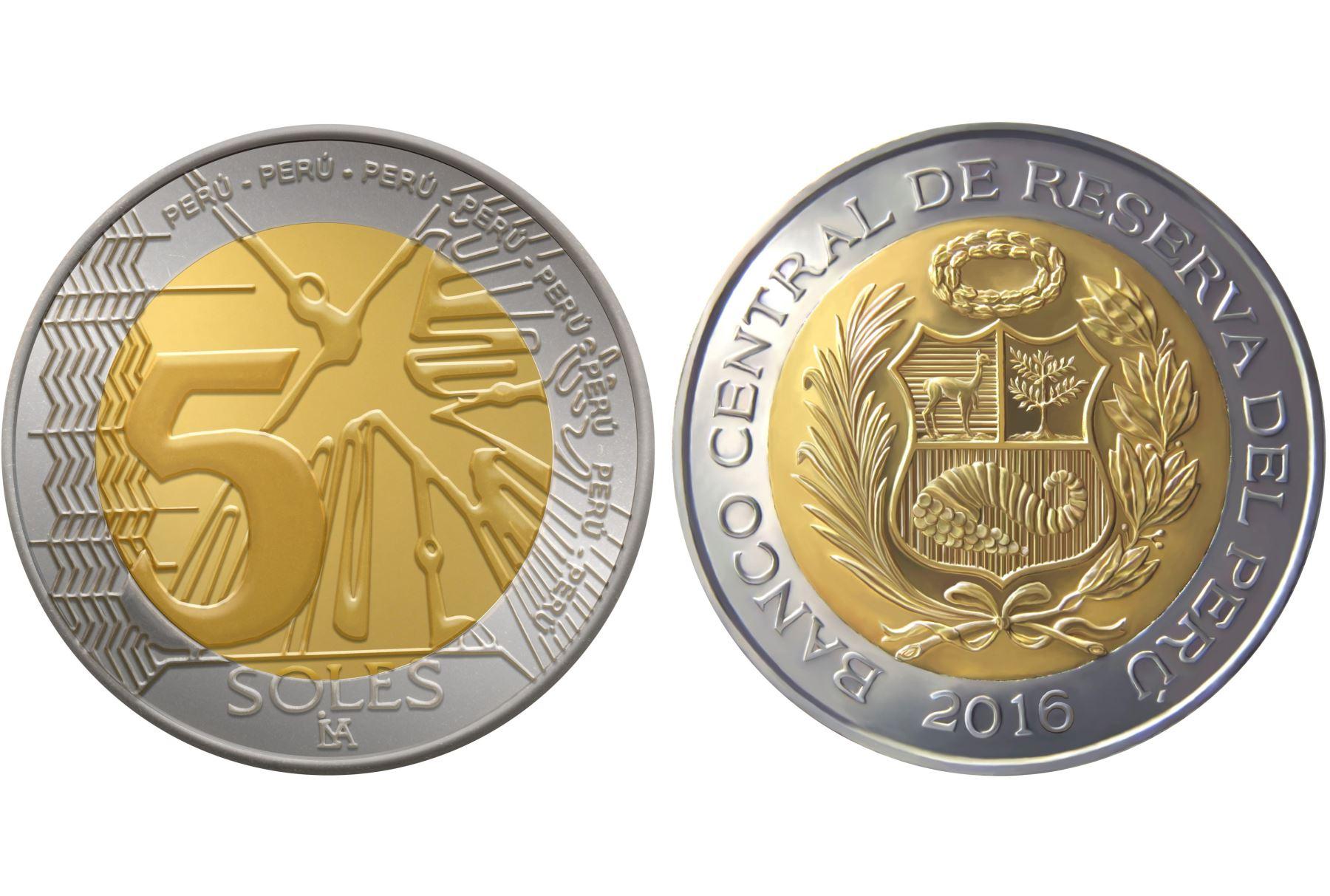 nueva moneda de cinco soles con renovado diseño.