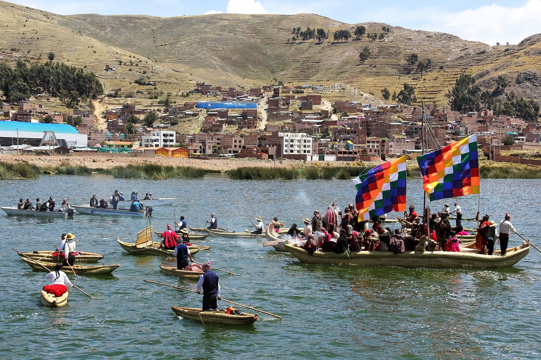 Se inicia ceremonia de salida de fundadores del imperio Inca del lago Titicaca. ANDINA/Archivo