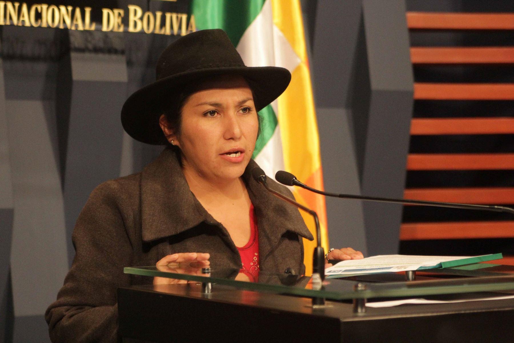 Ministra de Comunicaciones de Bolivia, Marianela Paco. Foto: Ministerio de Comunicación de Bolivia.