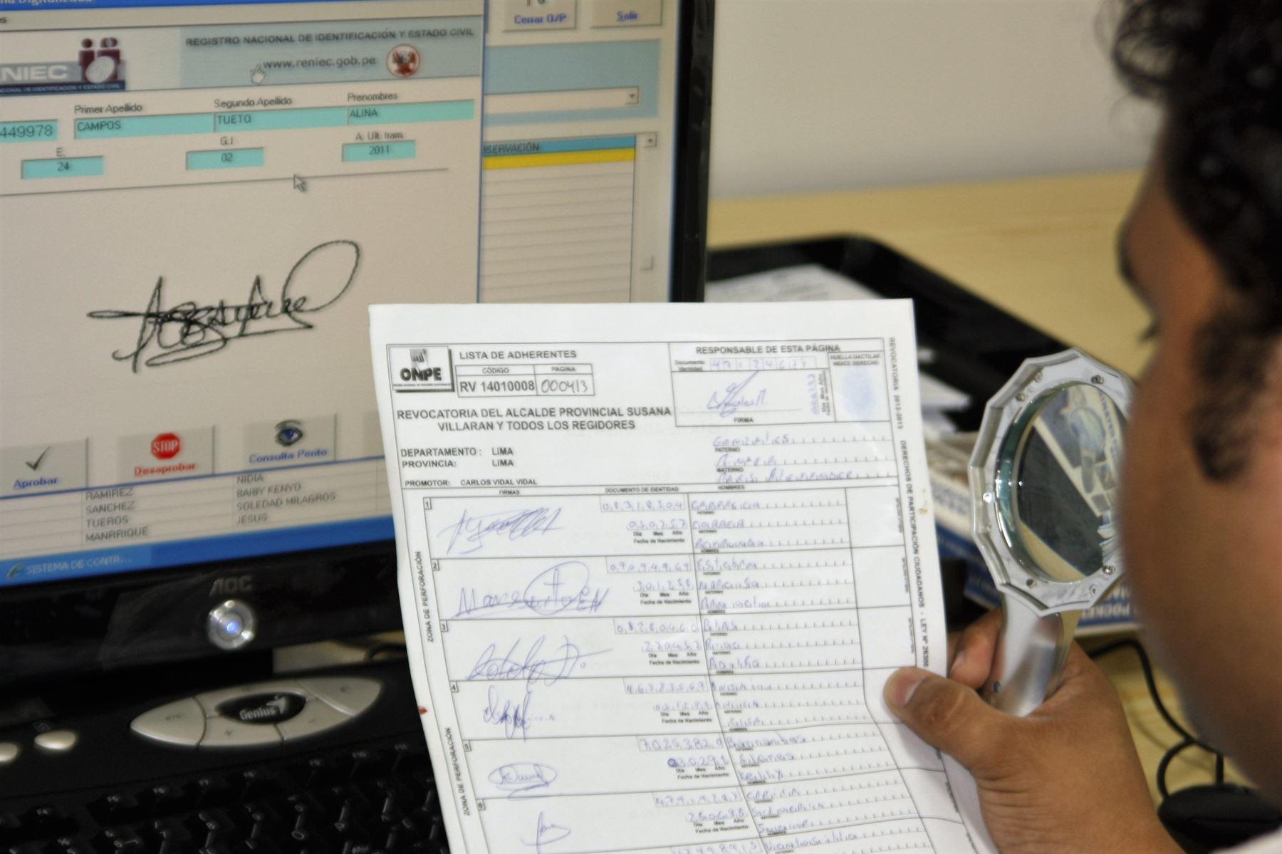 Elecciones 2021: Reniec verifica más de 20 mil registros de afiliados a partidos | Noticias