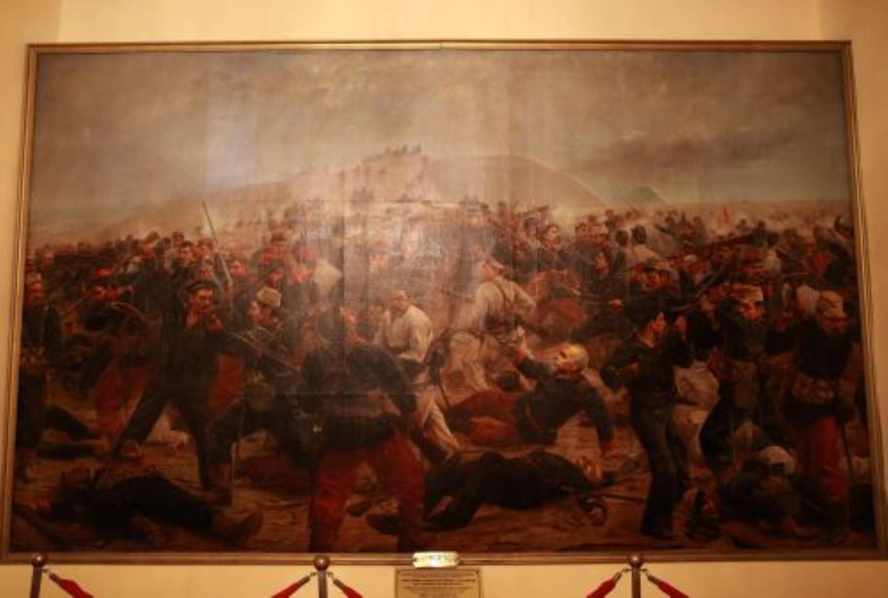 Parte de la remodelación de la morada del héroe de Arica, se encuentra también la restauración de la pintura que muestra sus últimos momentos en la batalla. .