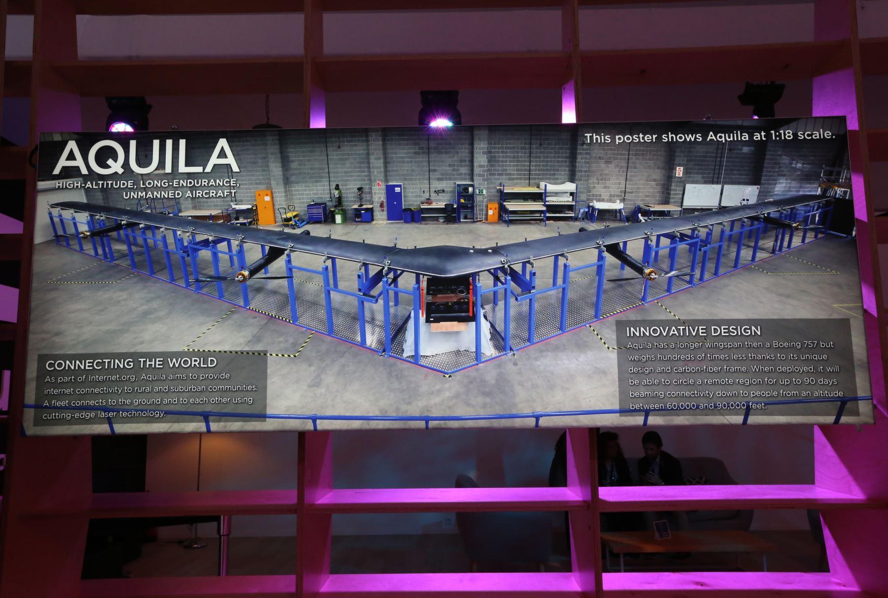 Facebook presenta en APEC Aquila, el dron con el que busca llevar Internet a zonas rurales. ANDINA/Dante Zegarra