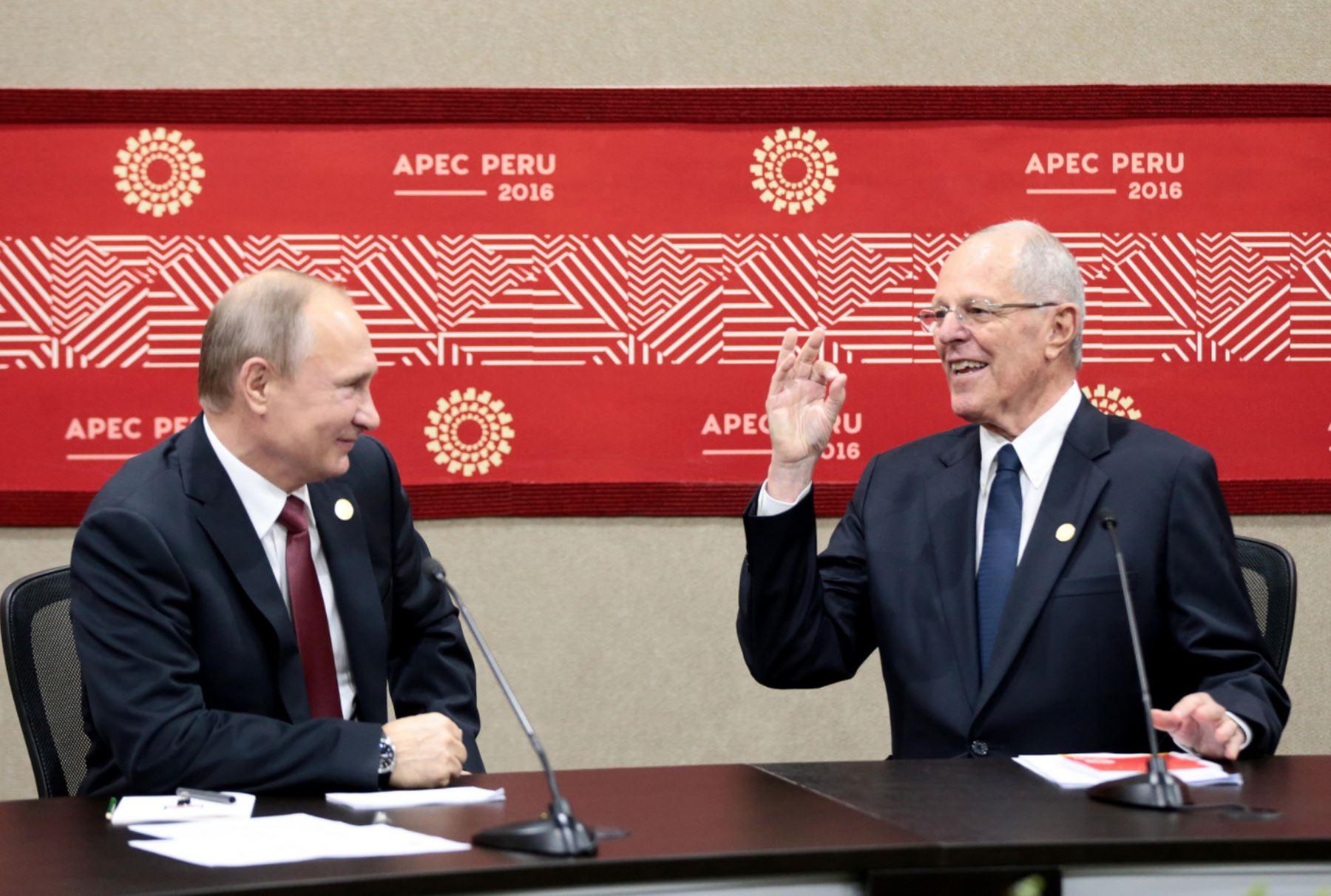 LIMA, PERÚ - NOVIEMBRE 1P. Encuentro bilateral del presidente Pedro Pablo Kuczynski el presidente de Rusia, Vladimir Putin, en el marco de APEC 2016  Foto:ANDINA / Presidencia.