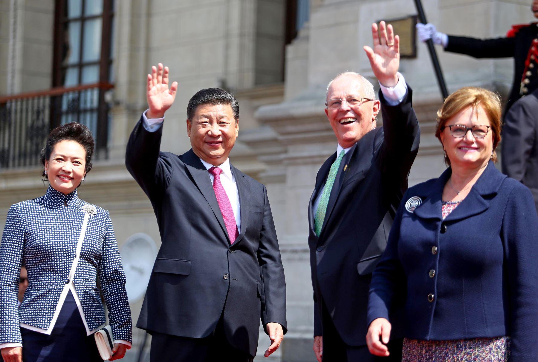 Ceremonia de bienvenida al presidente de China, Xi Jinping, en el Patio de Honor de Palacio de Gobierno Foto: ANDINA/ Prensa Presidencia