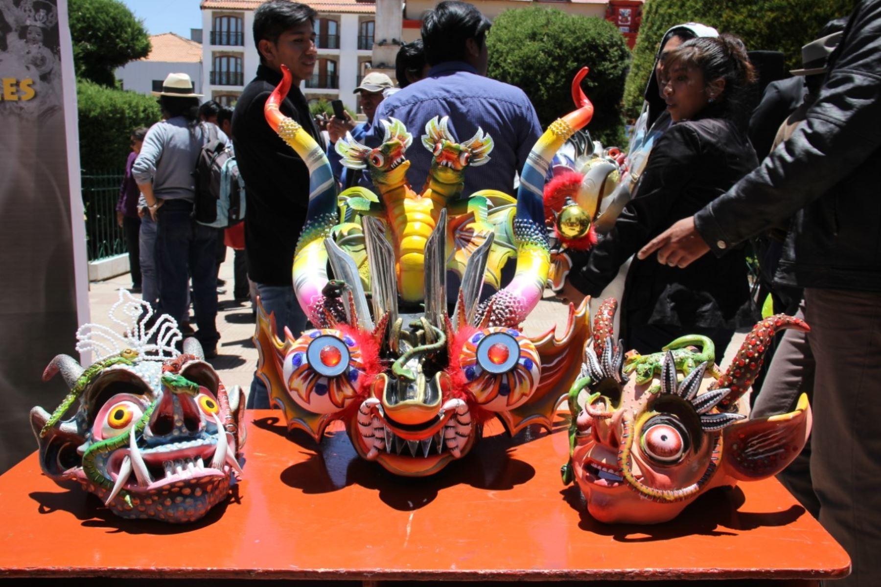 Mascaras usadas en la diablada en Puno.