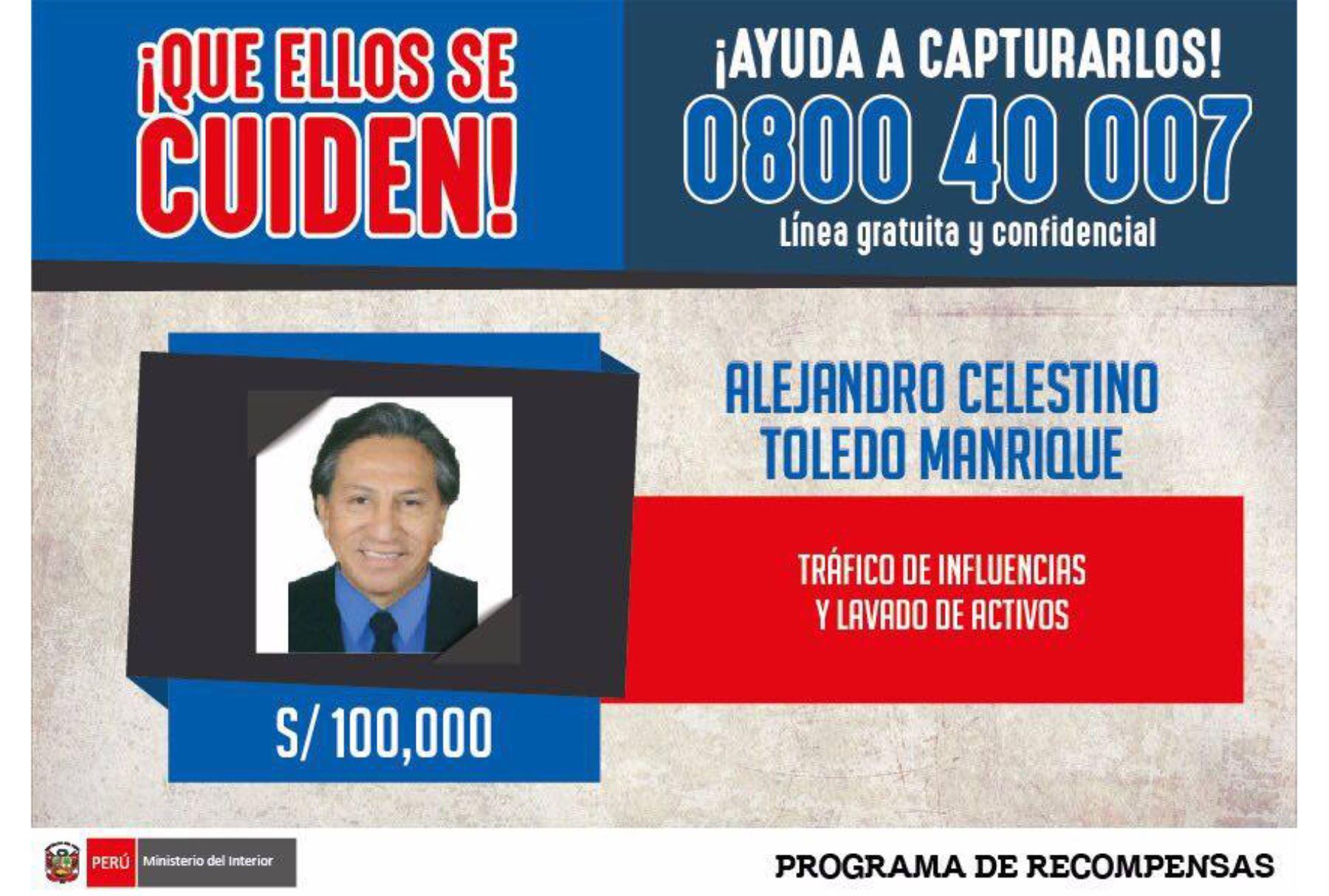 Darán recompensa de S/ 100,000 a quien informe ubicación de Toledo. Foto: Twitter.