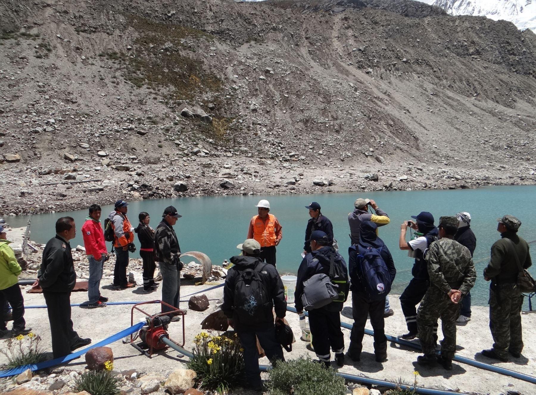 Áncash refuerza defensas en laguna Palcacocha para evitar desbordes. ANDINA