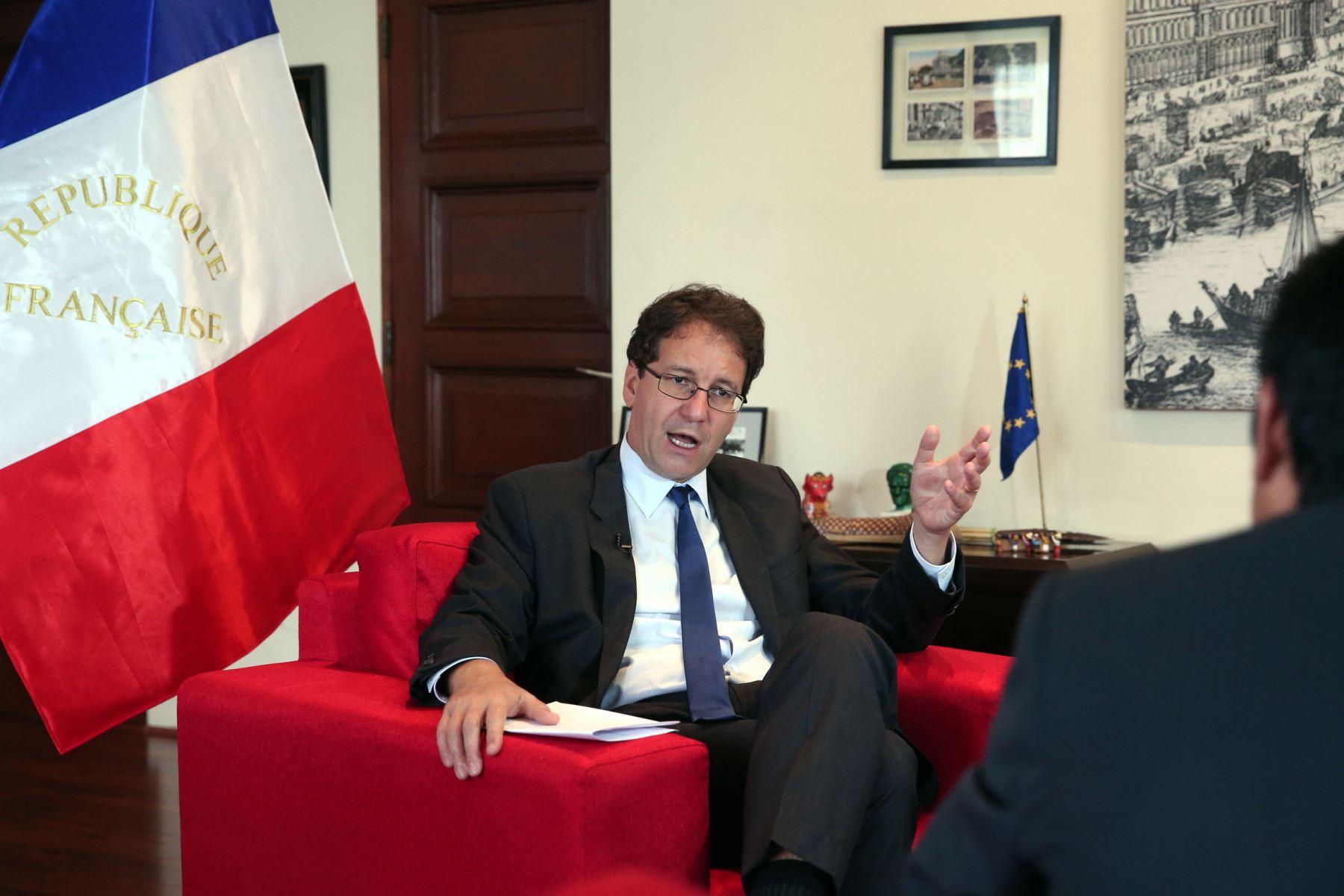 LIMA, PERÚ-JUNIO 05. Entrevista al Embajador de Francia en el Perú Fabrice Mauries. Foto: ANDINA/Dante Zegarra.